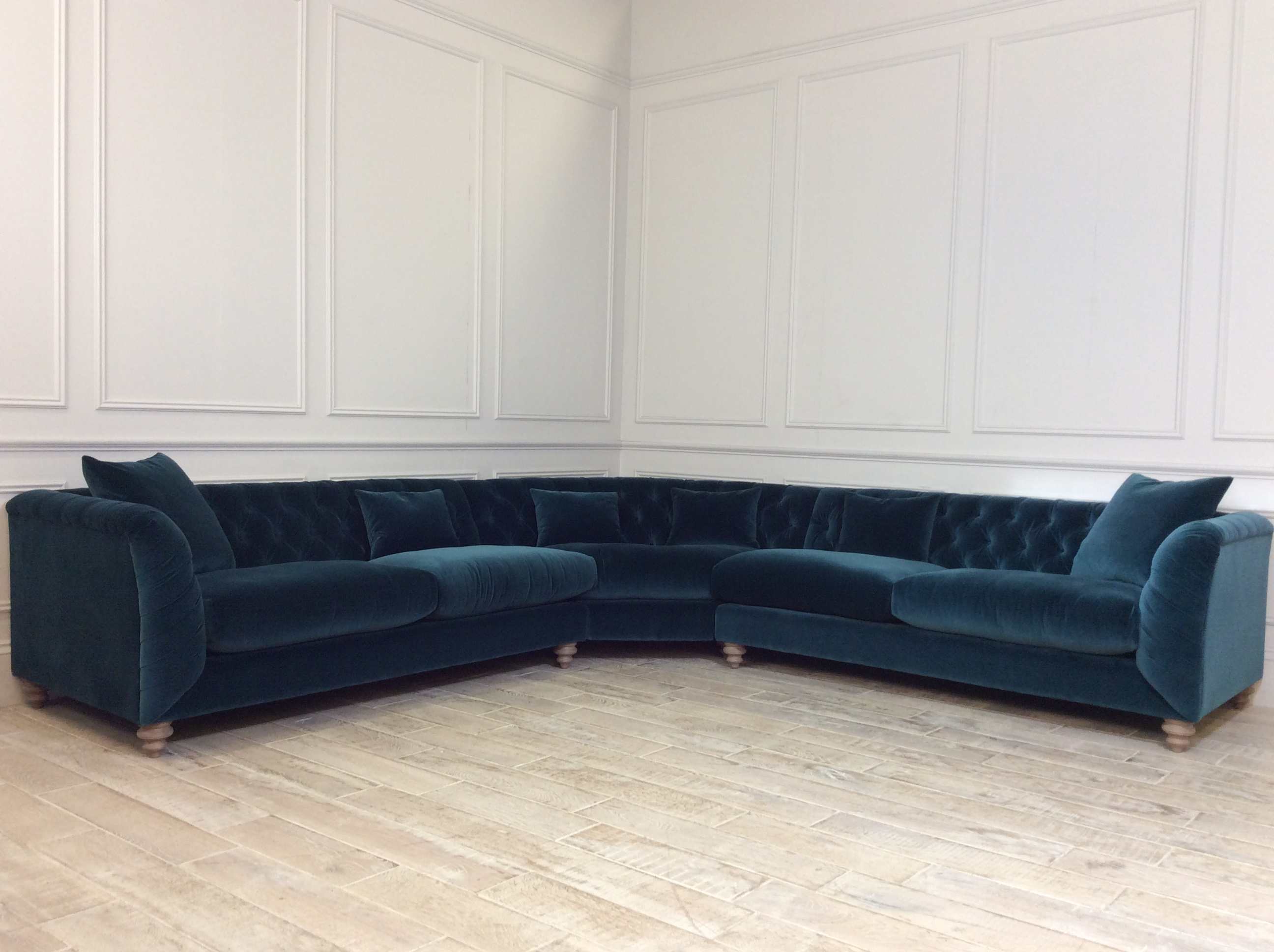 Product photograph showing Dulwich Large Corner Fabric Sofa In Varese Cadet