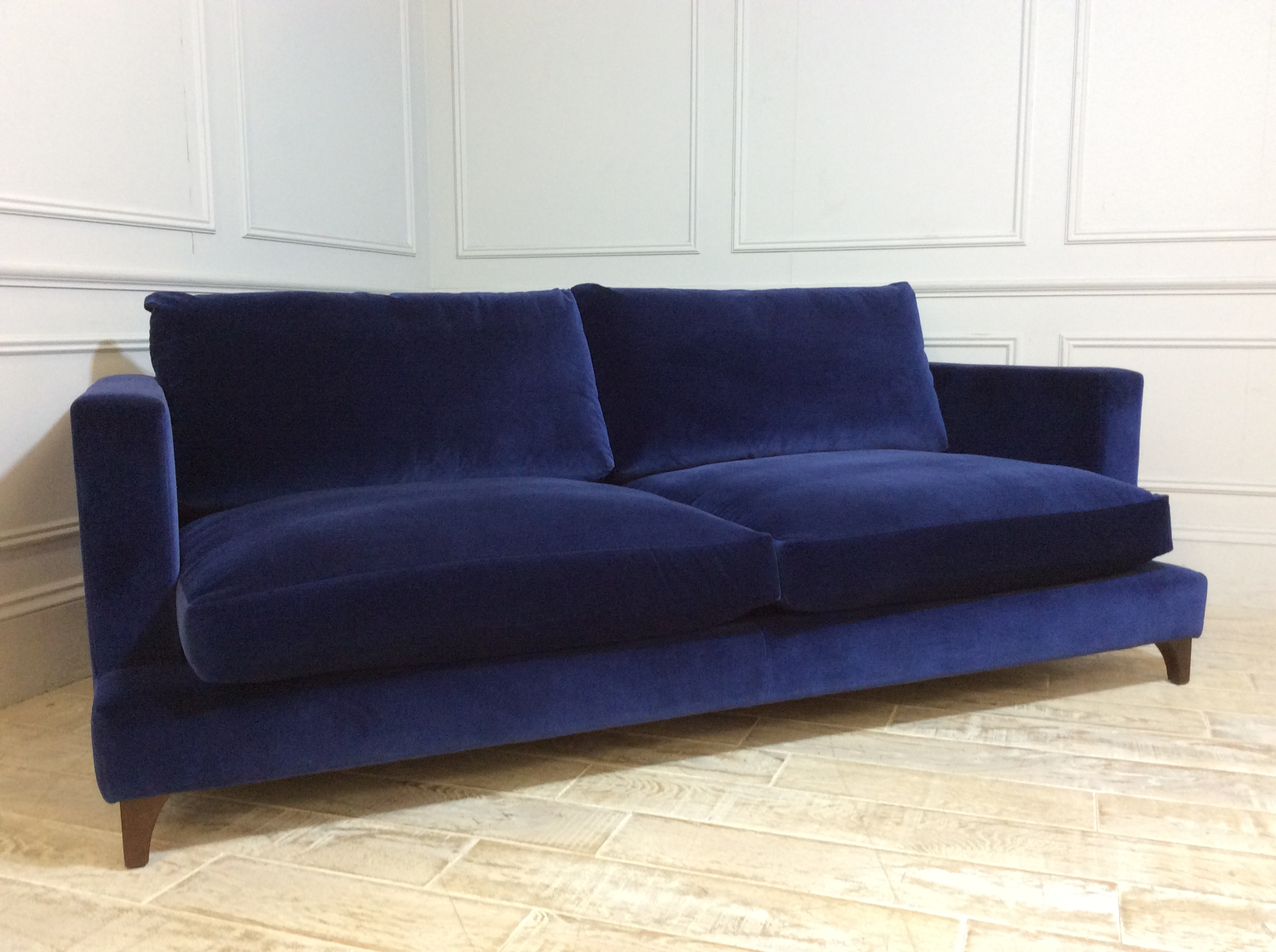 Product photograph showing Holland Large Sofa In Varese Velvet Denim