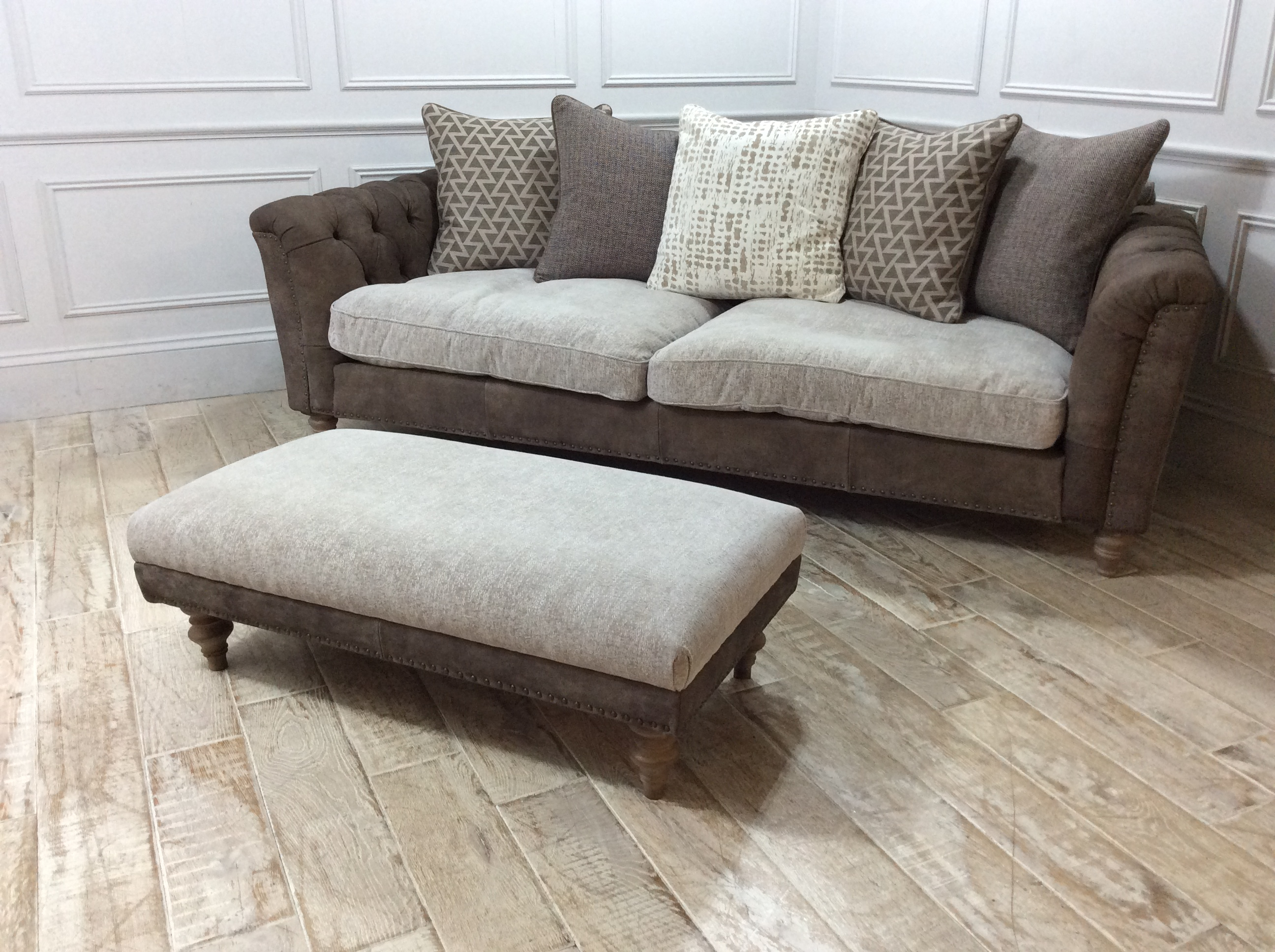 Dorset Leather and Fabric Extra Large Sofa with Footstool in Buffed Putty