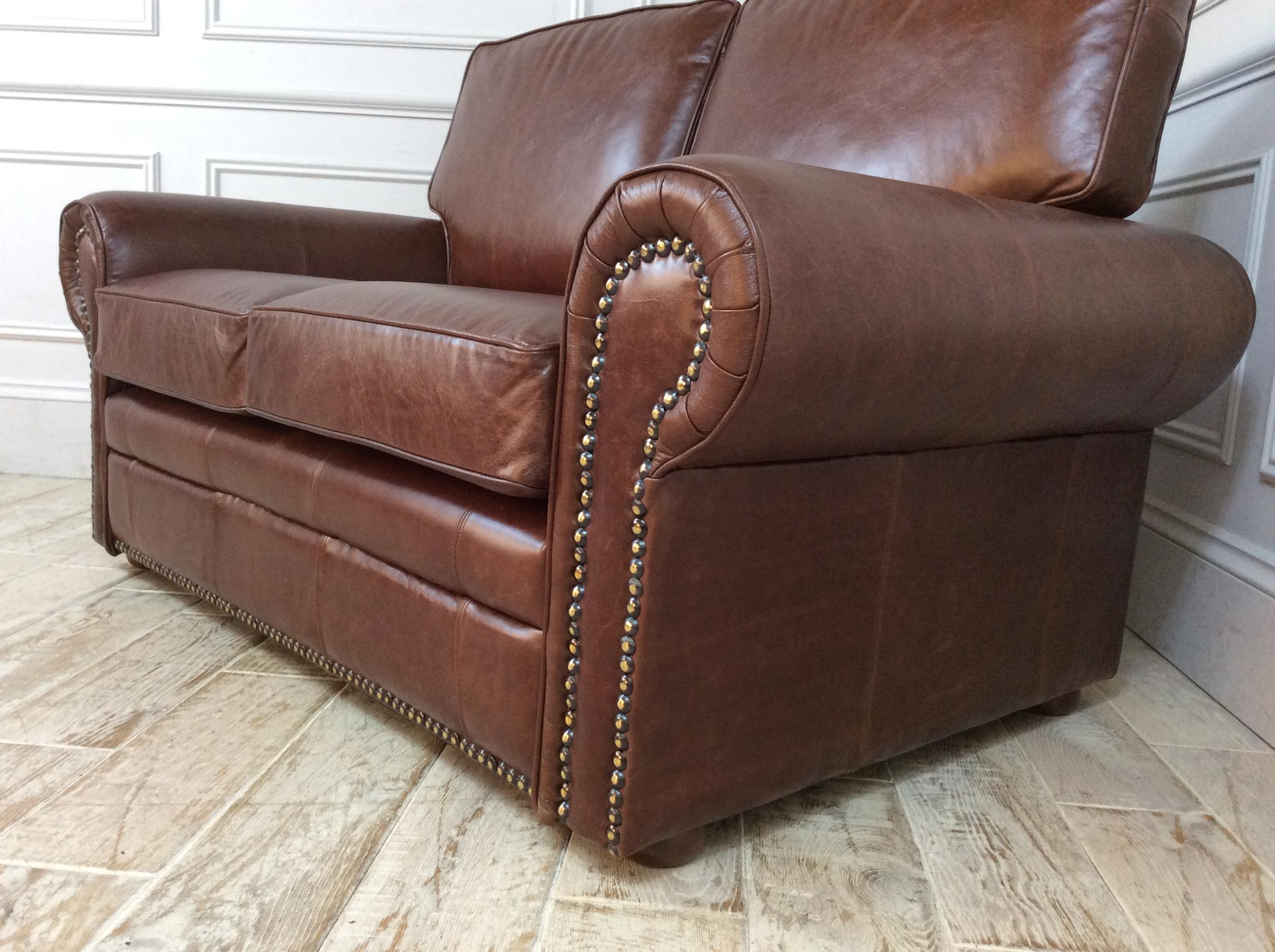 Canterbury 2 Seater Sofa in Waxy Semi Aniline Conker