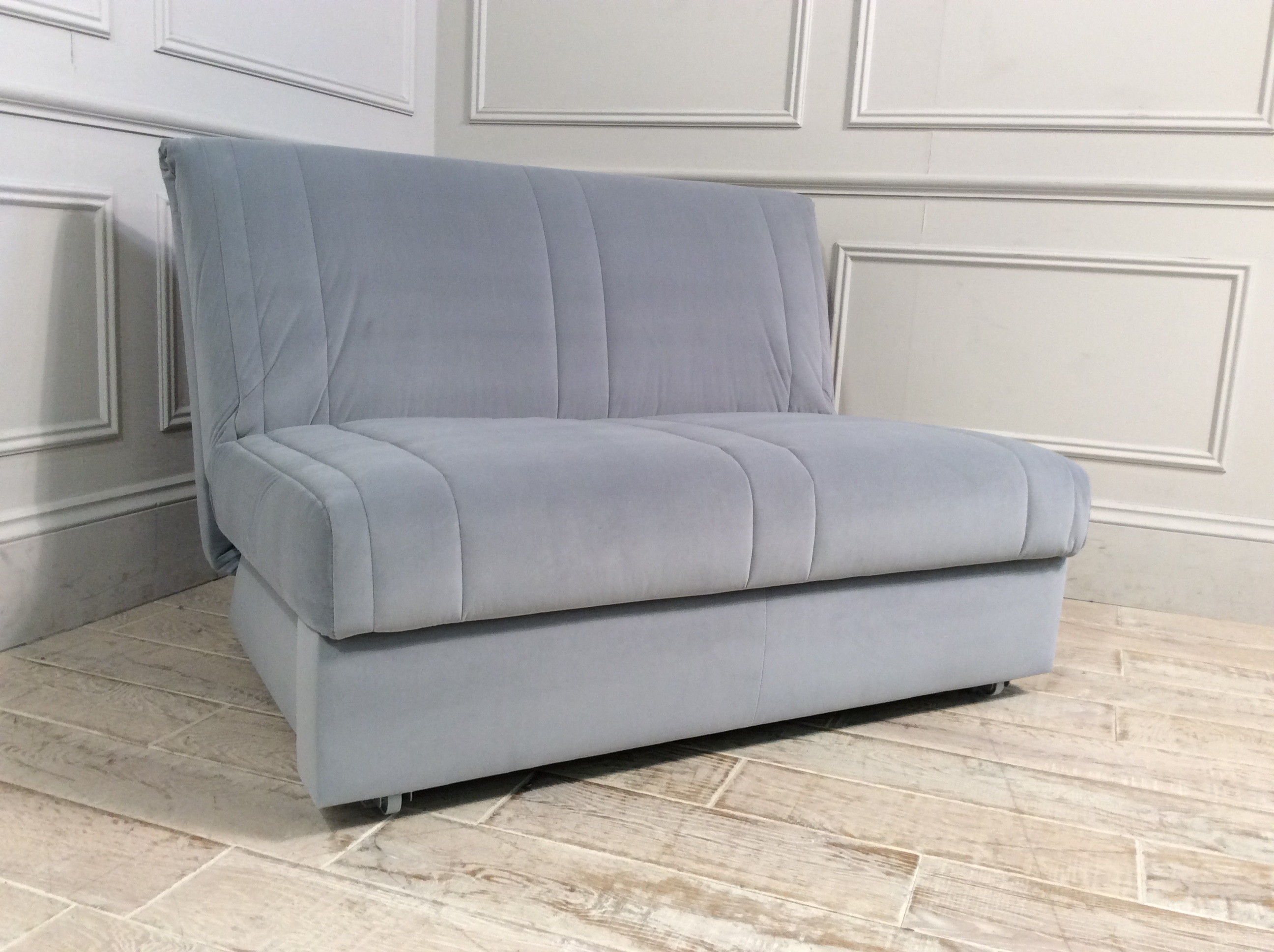Product photograph showing Launceston 2 Seater No Arms Sofa Bed In Velvet Platinum