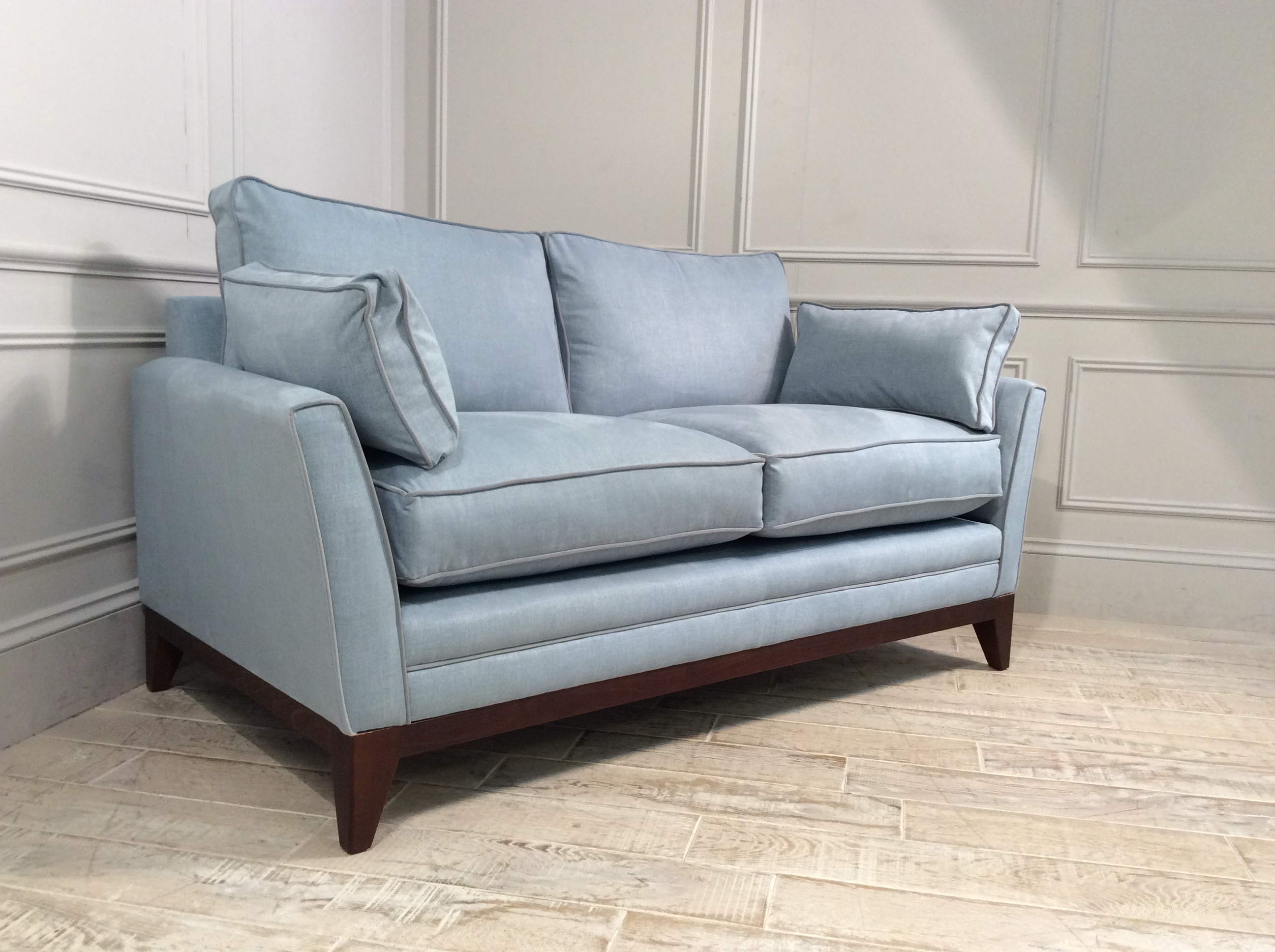 Product photograph showing Exmouth 2 Seater Fabric Sofa In Powder Blue
