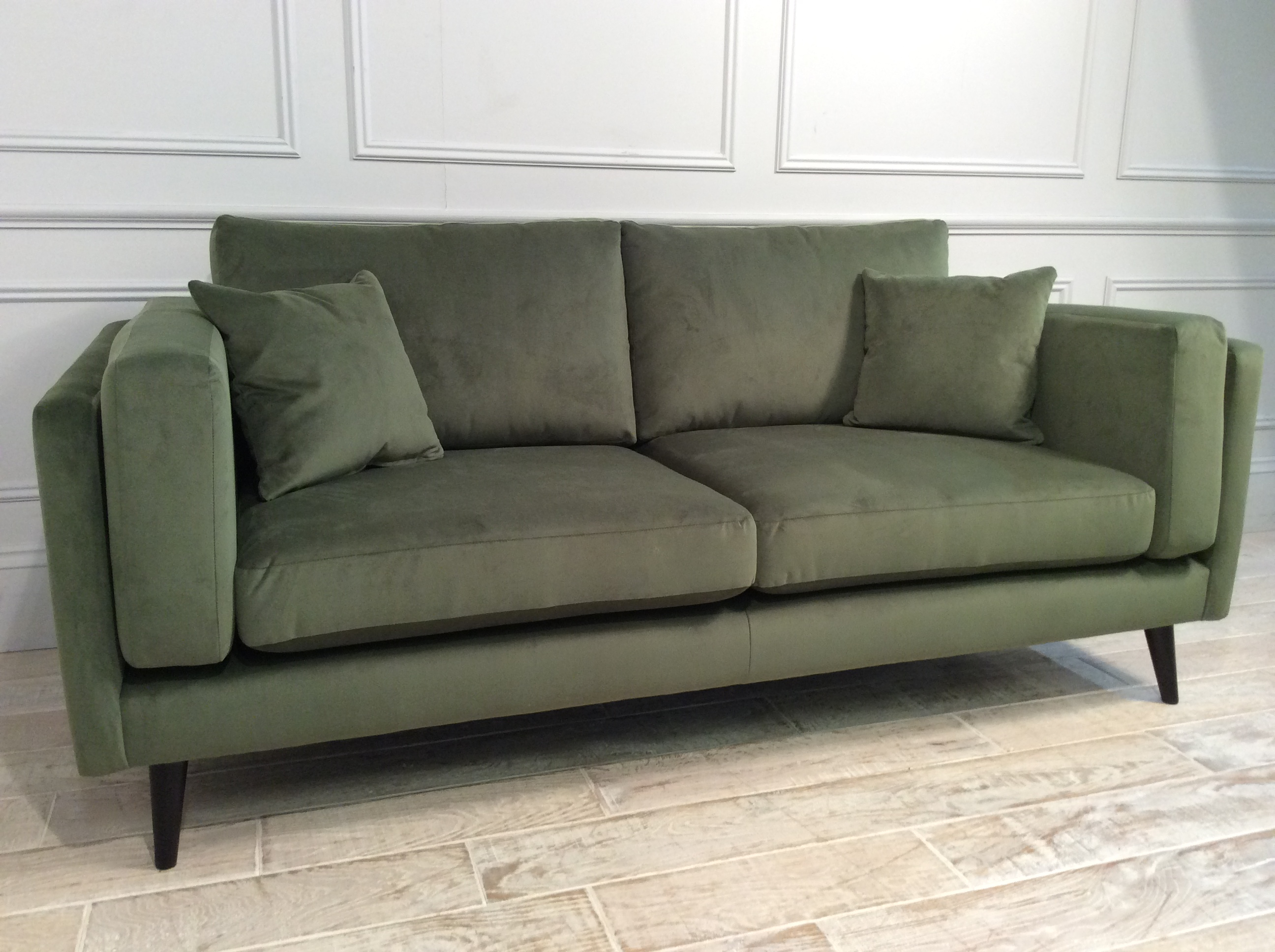 Product photograph showing Brighton Large Fabric Sofa In Velvet Juniper