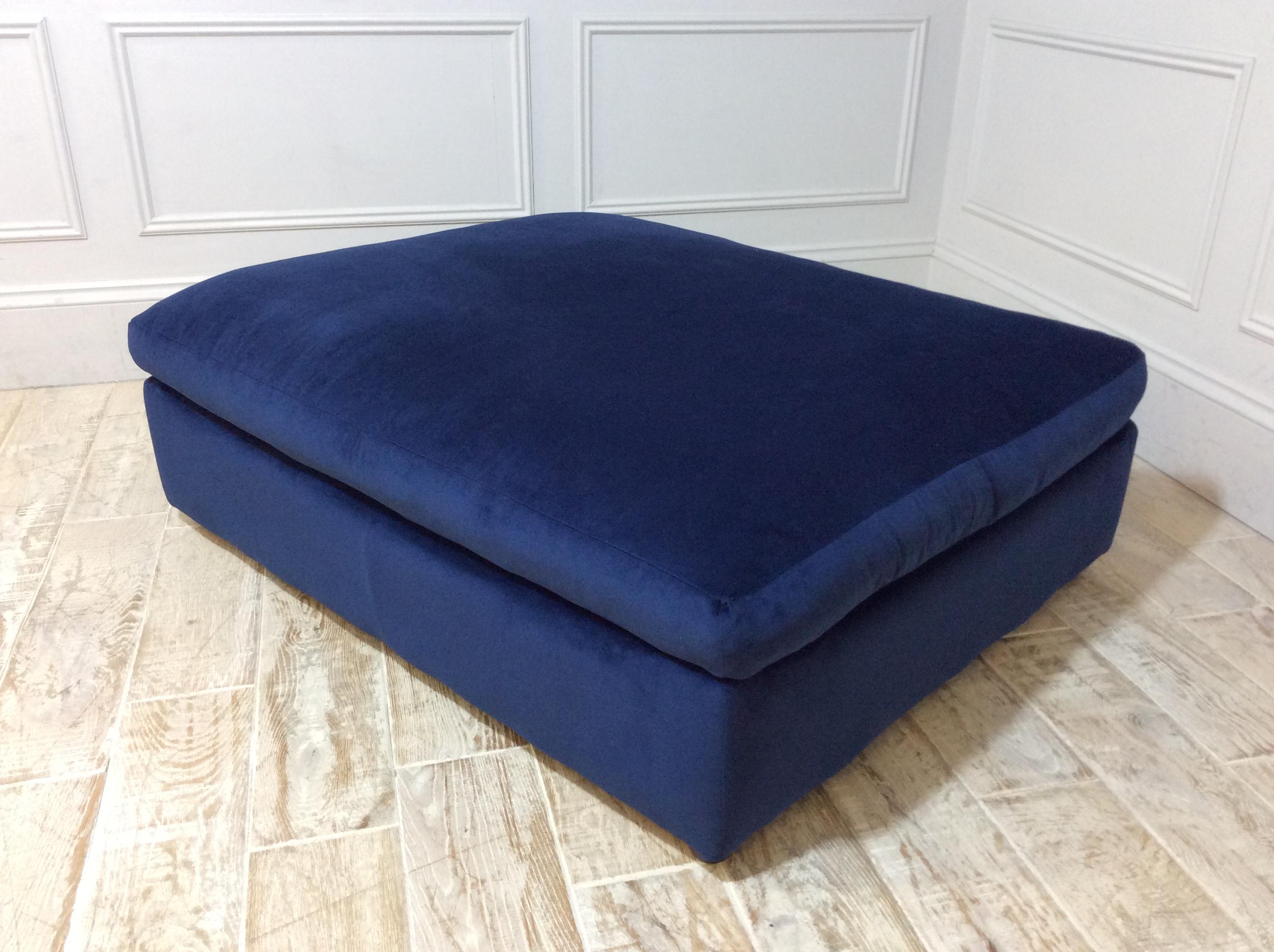 Haymarket Extra Deep Footstool in Velvet Dark Blue