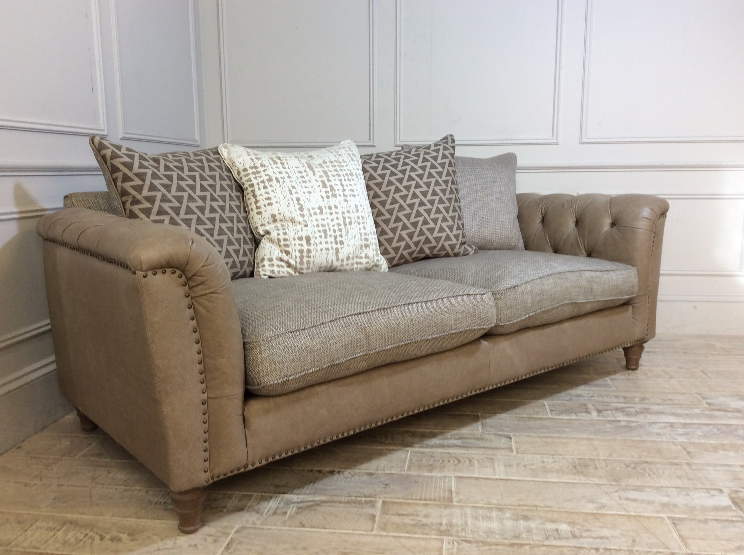 Product photograph showing Dorset Leather And Fabric Large Sofa In Cotswold Whetham