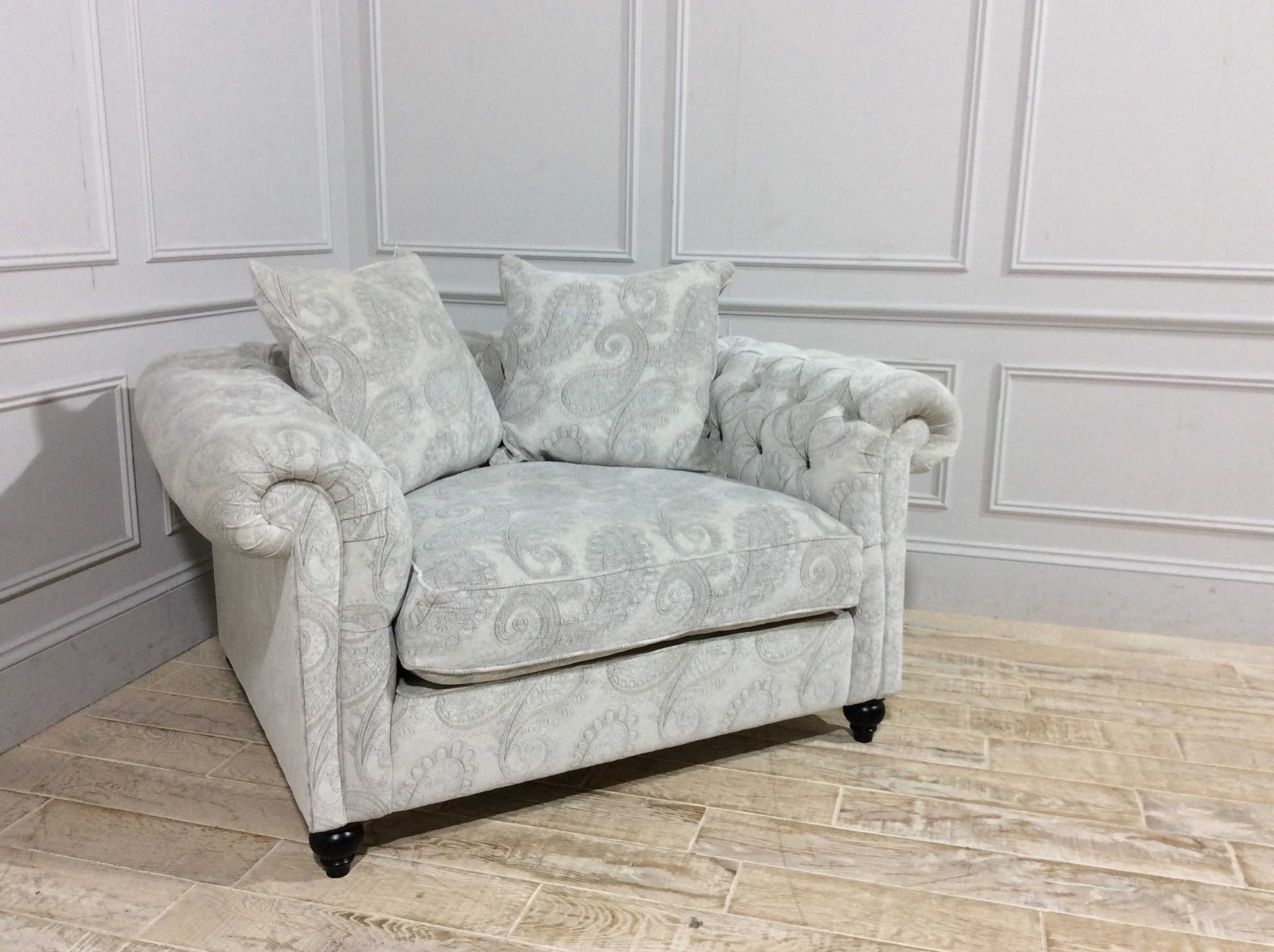Duresta Connaught Fabric Grand Reading Chair in Plush Paisley Silver