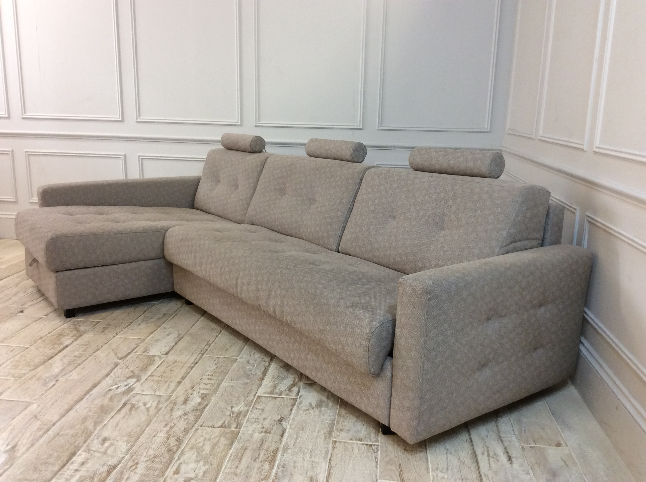 Product photograph showing Alexi 4 Seater Sofa With Left Hand Storage Chaise And Straight Arms In Houston Weaves - Houston 248