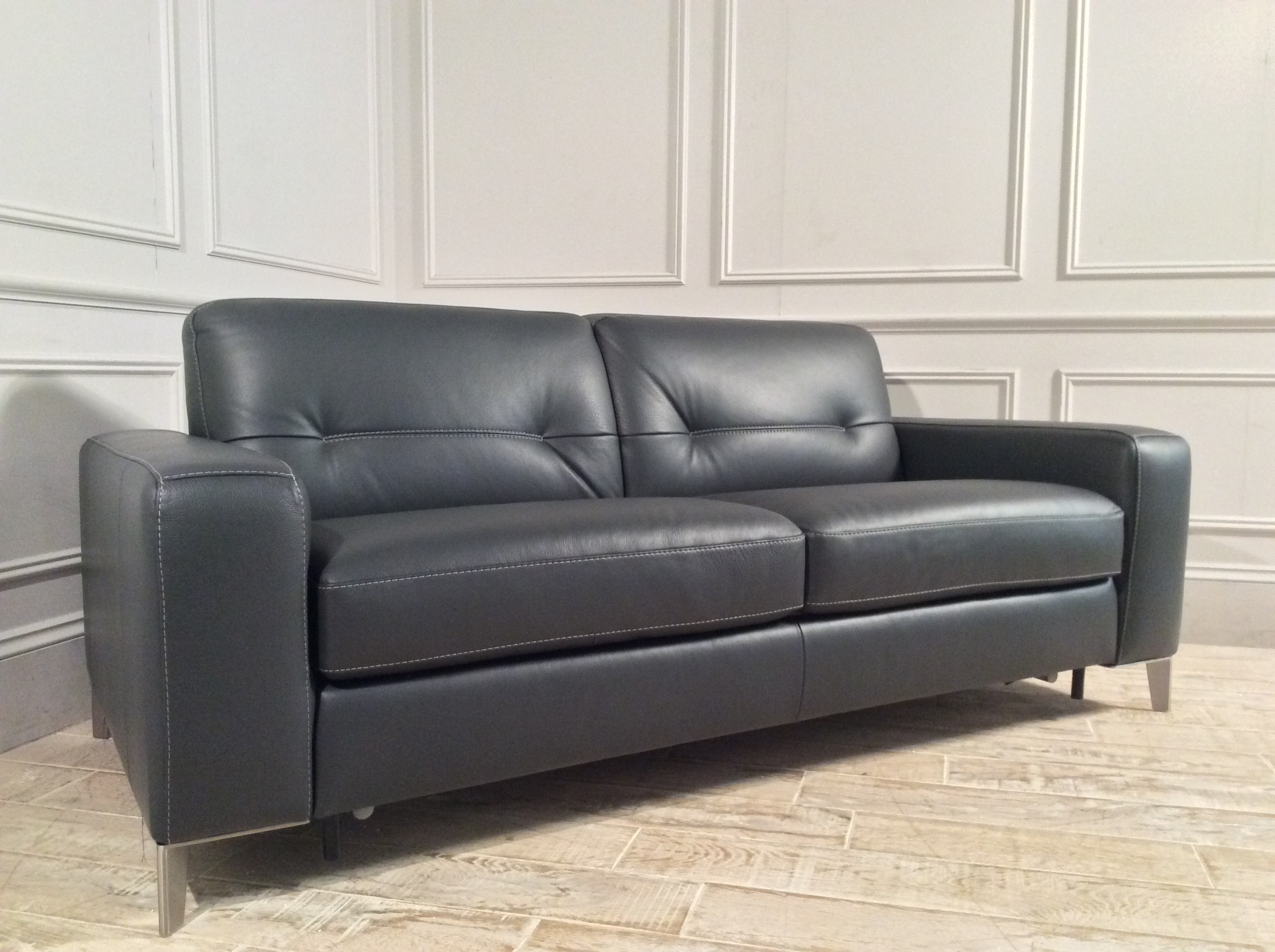 Product photograph showing Sofia Leather Sofa Bed In Charcoal