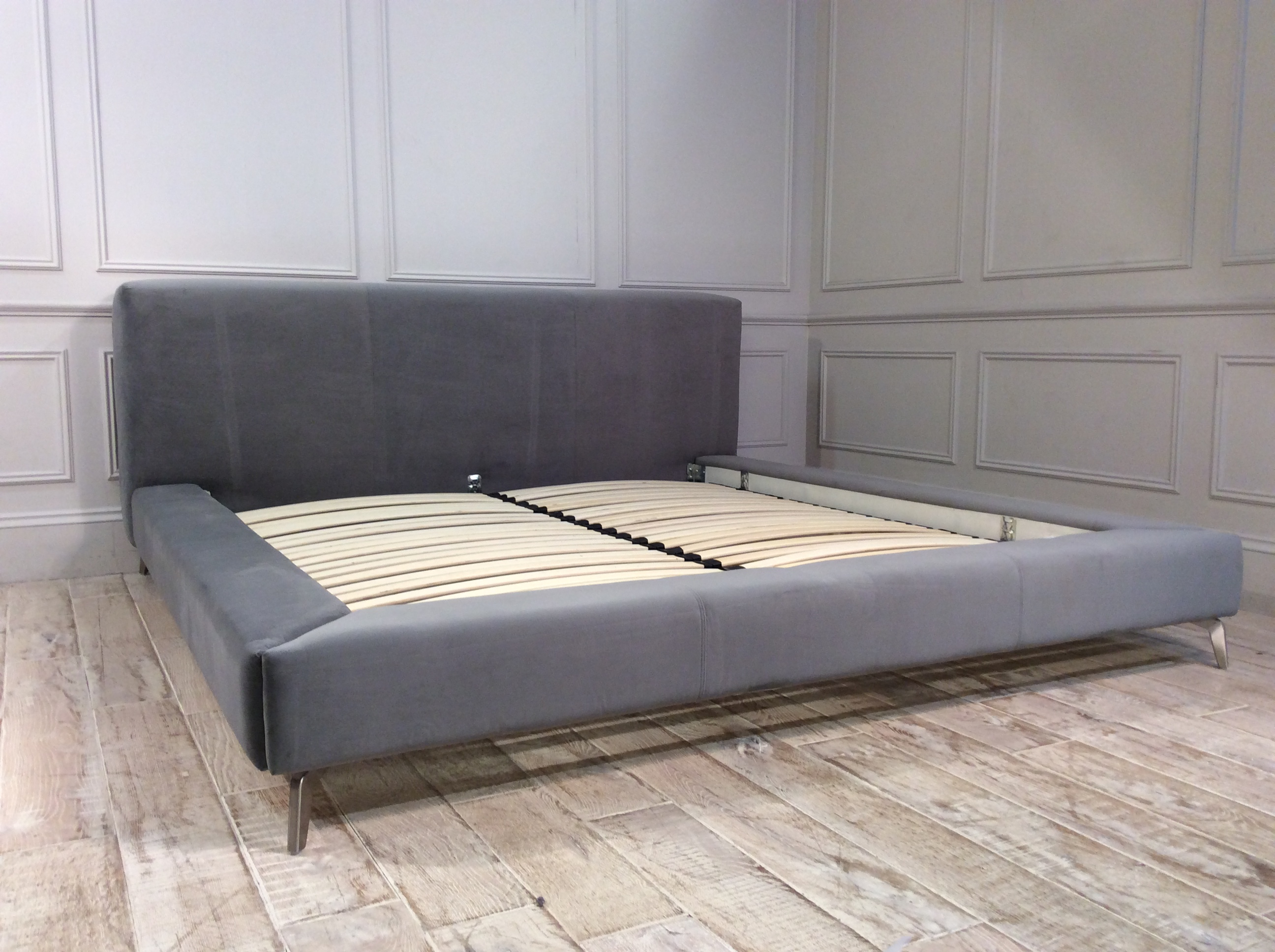 Coates Super King Bed Frame in Velvet Silver
