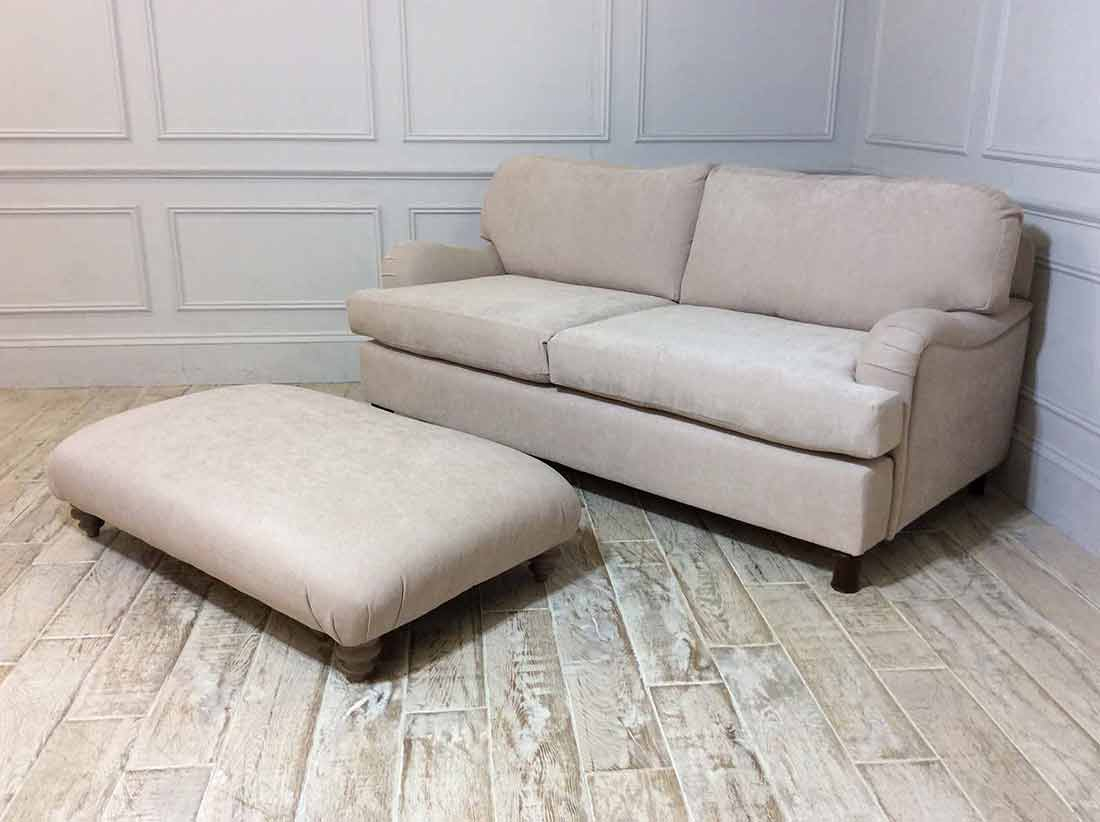Helston 3.5 Seater Sofa with Footstool in Stain Resistant Chenille Latte