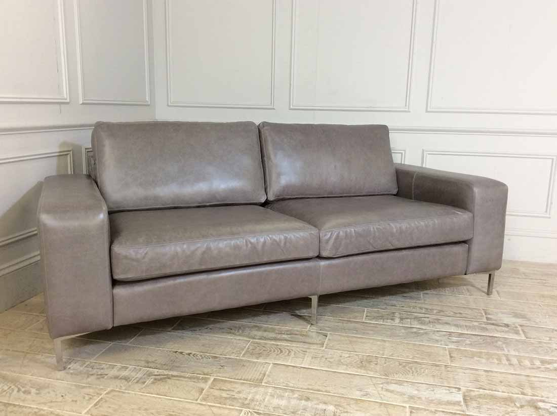 Kingly 3.5 Seater Leather Sofa in Slate