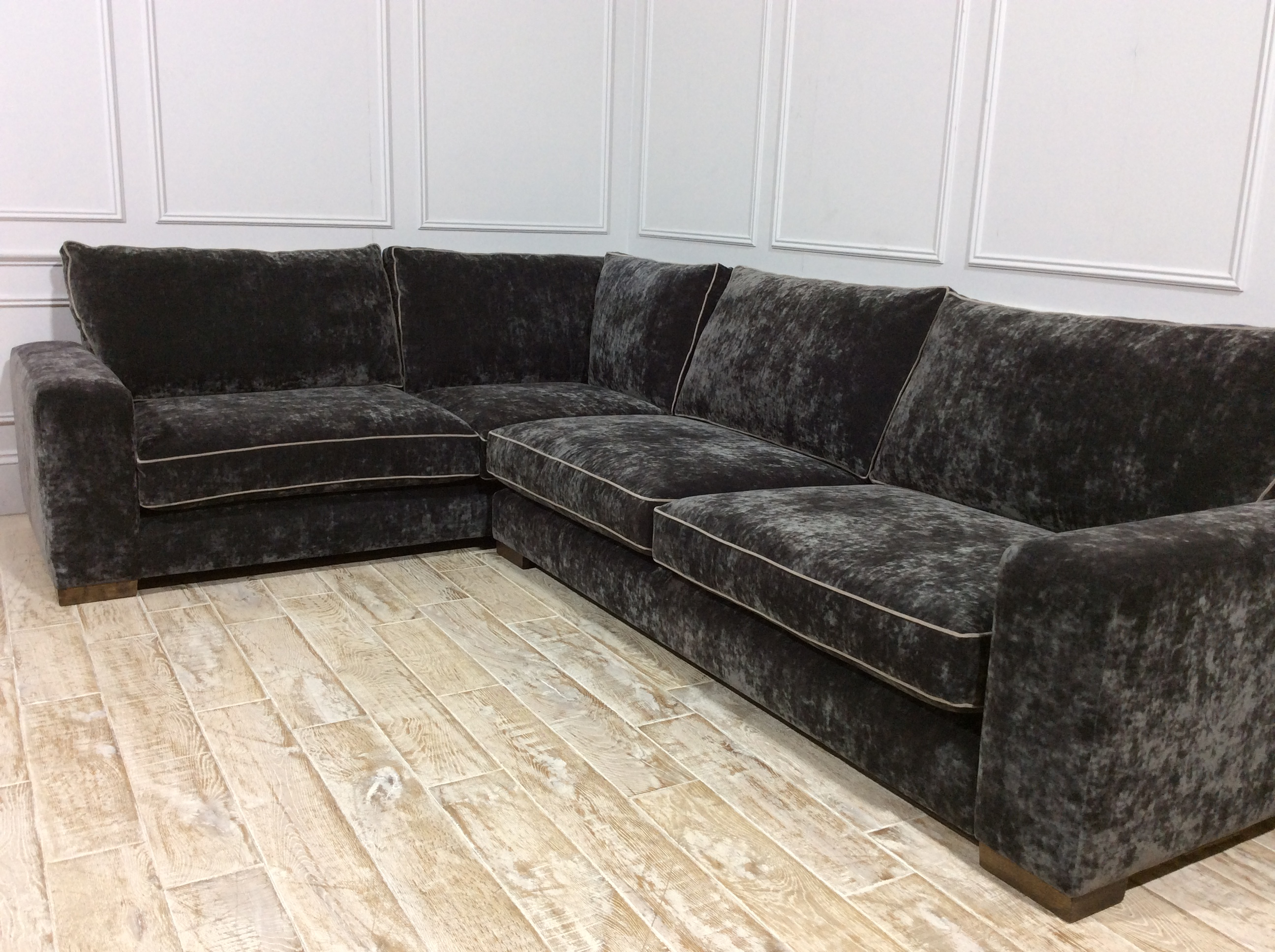Ashdown Corner Fabric Sofa in Vintage Cardamom with Mystic Mink Piping
