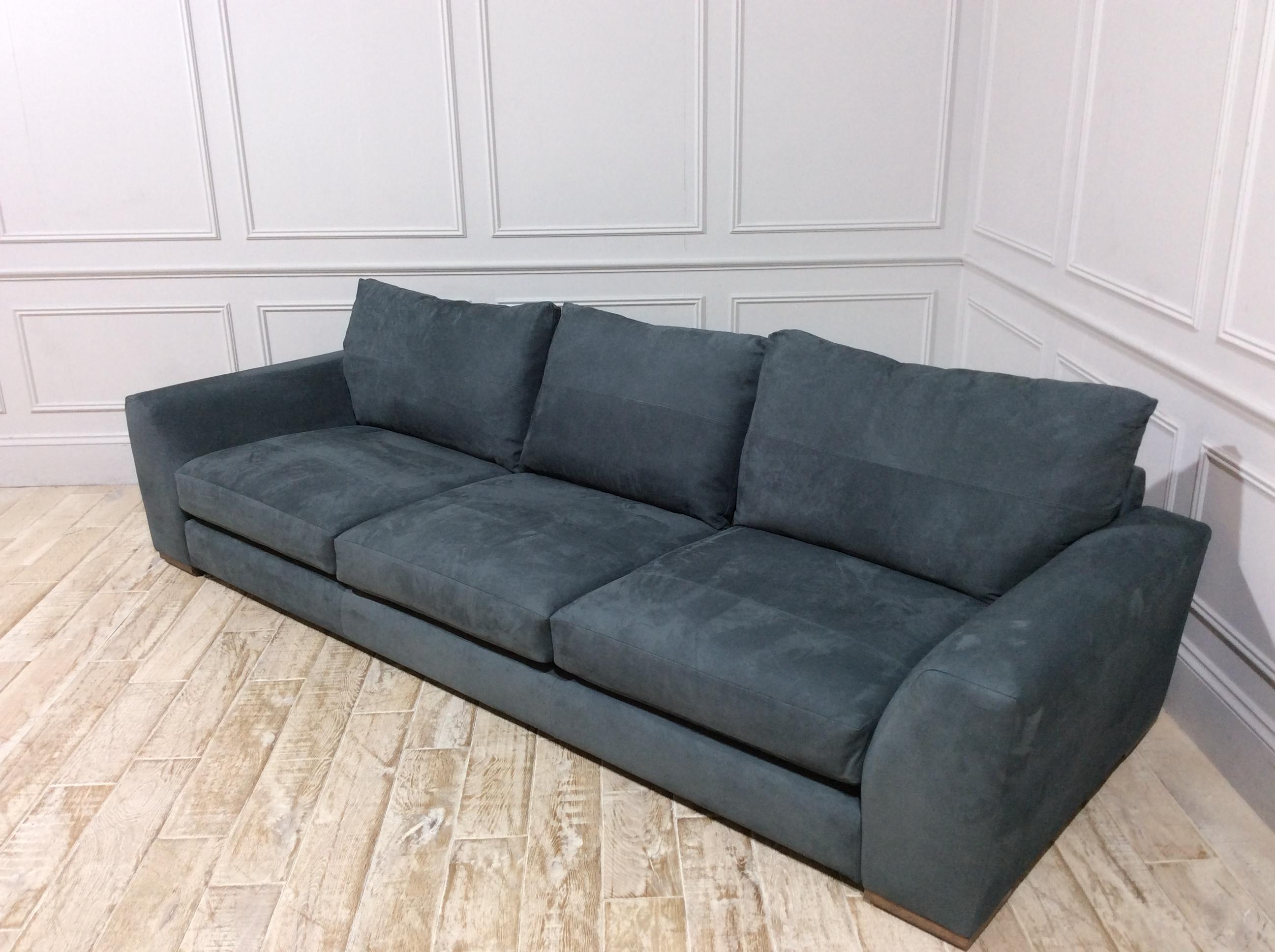 Kingston Super Grand Sofa in Nubuck Leather Gunmetal Grey