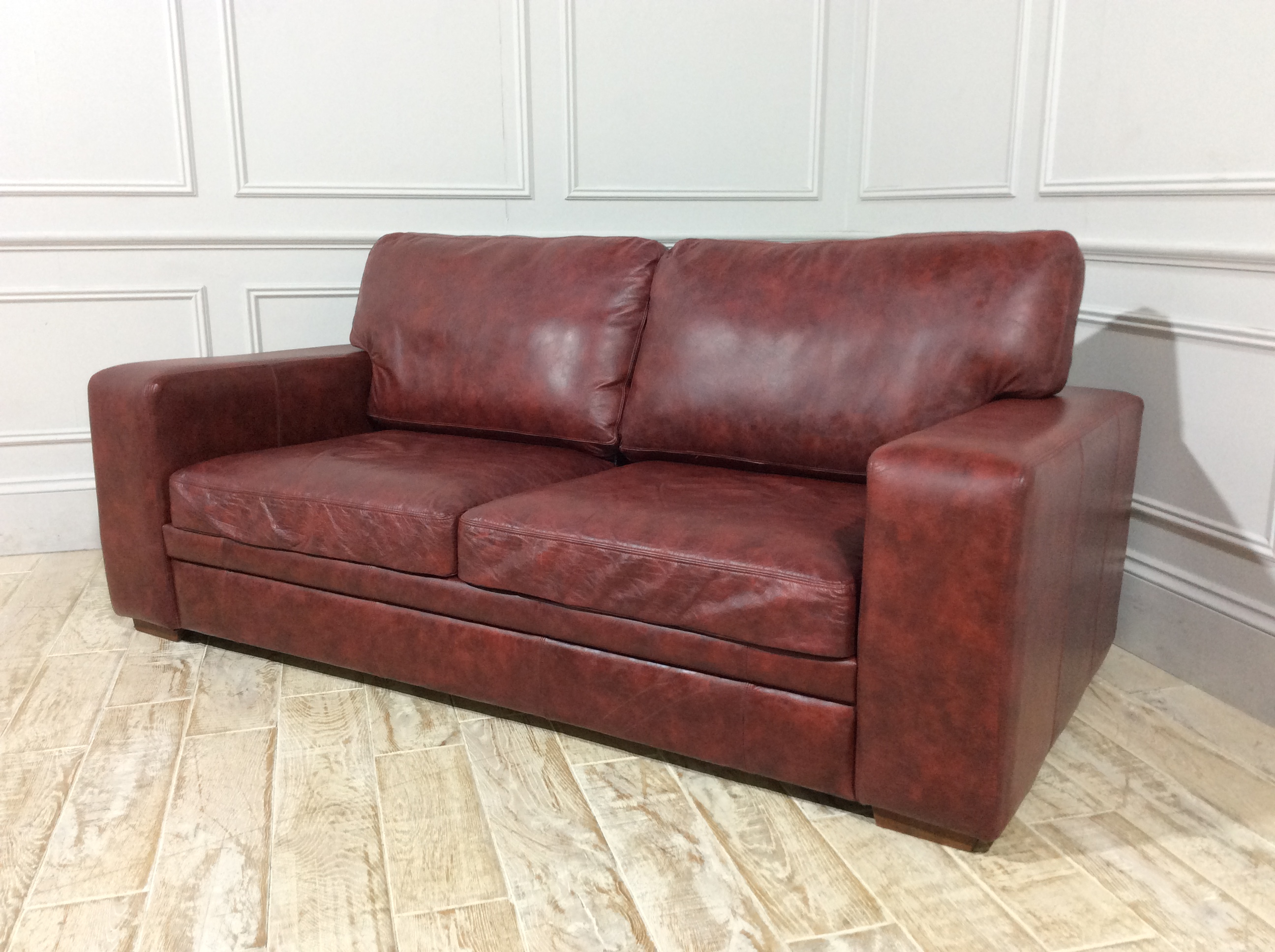 Sloane 3 Seater Sofa Bed in Distressed Vintage Aniline Oxblood