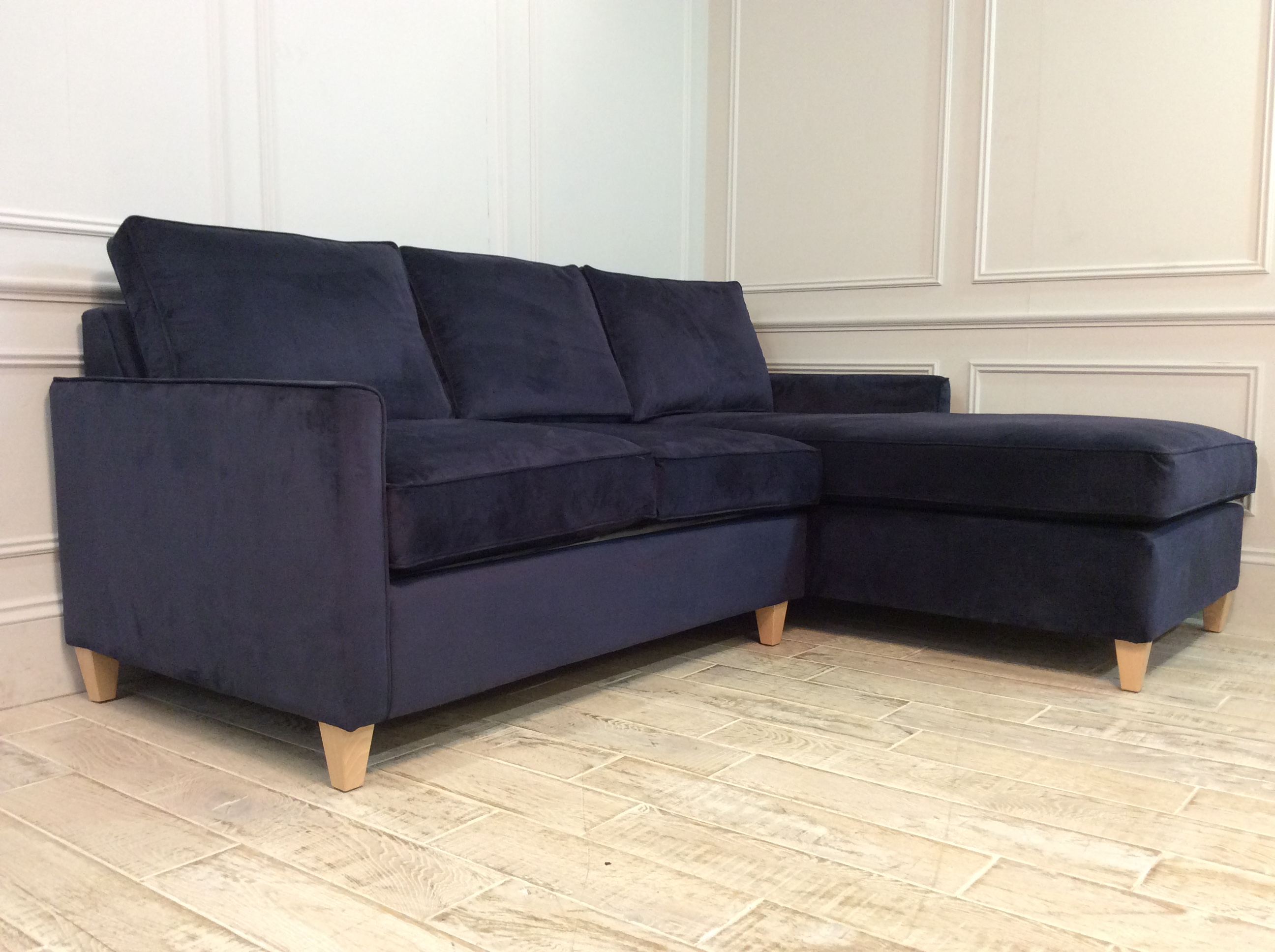 Product photograph showing Hayes 2 Seater Chaise Sofa Bed In Navy
