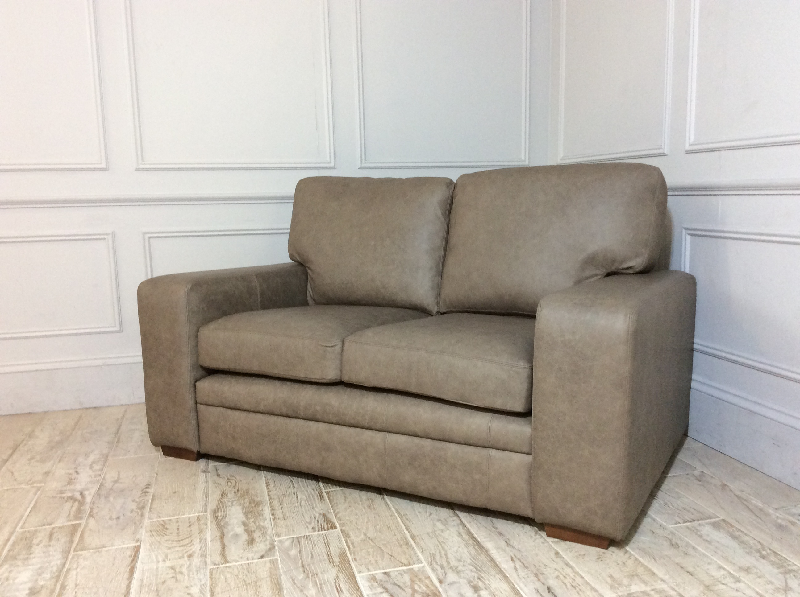 Sloane 2 Seater Leather Sofa in Gravel