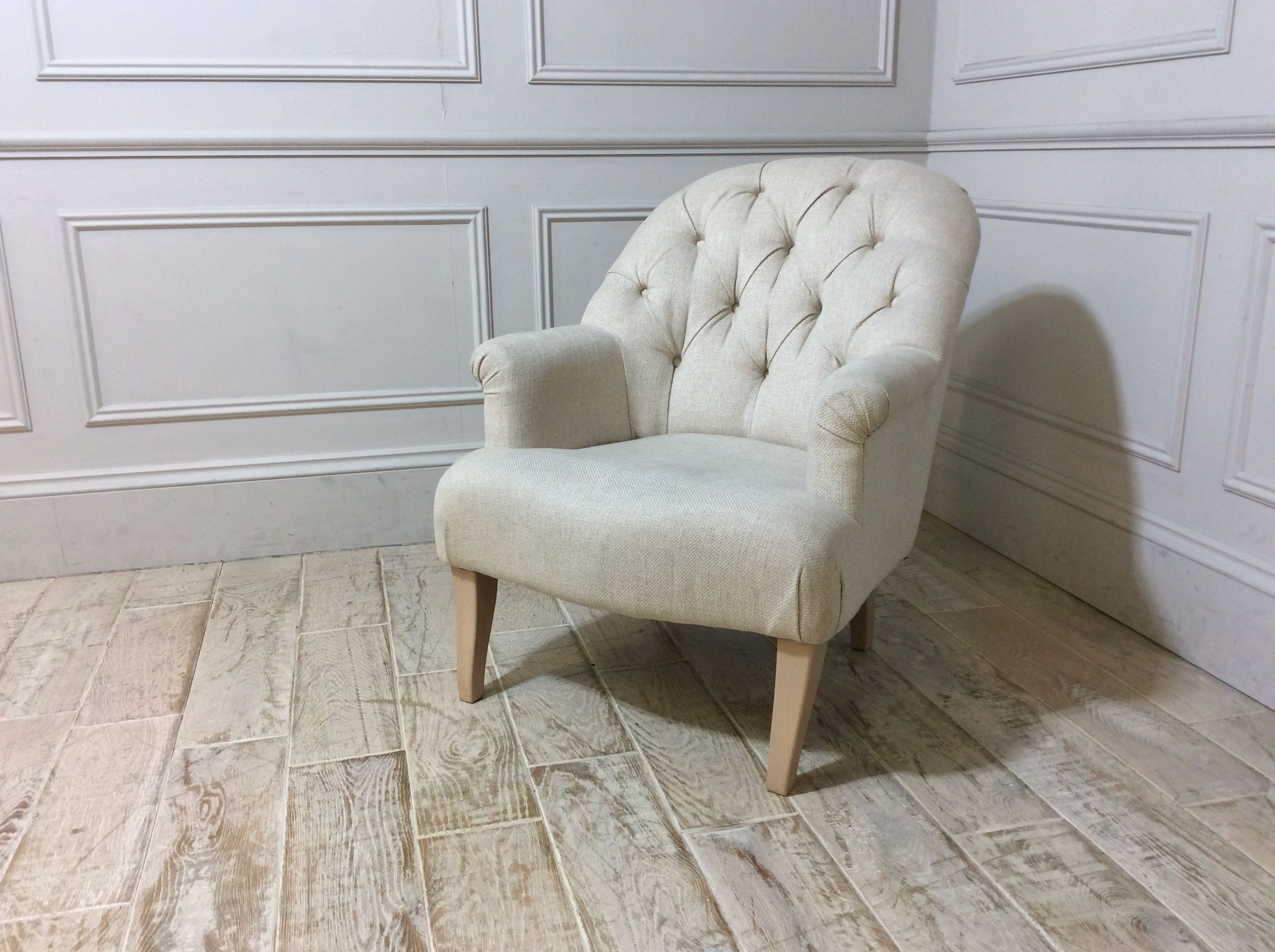 Preston Chair with Buttons in Marinello Stone
