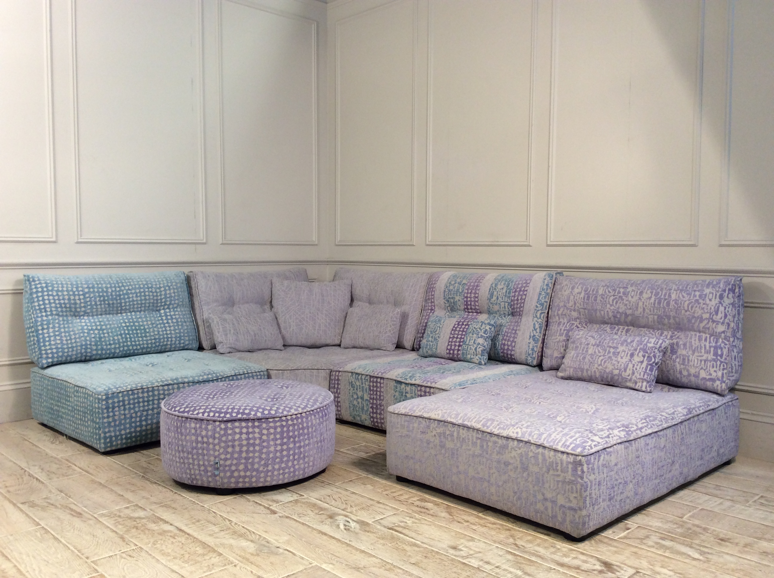 Product photograph showing Alice Modular Corner Sofa In Patterned Chenille