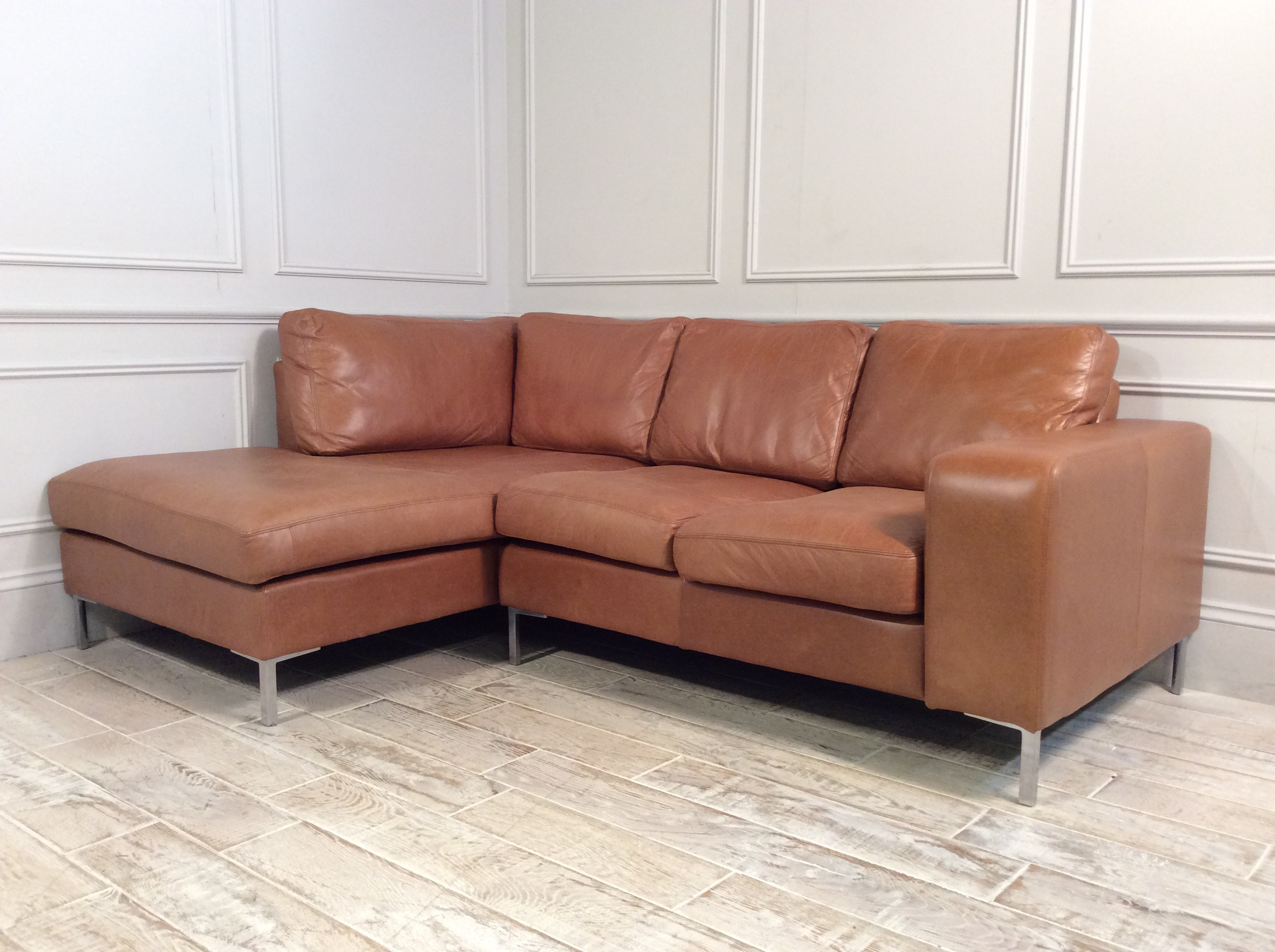 Product photograph showing Kingly 2 Seater Leather Sofa With Chaise In Tan