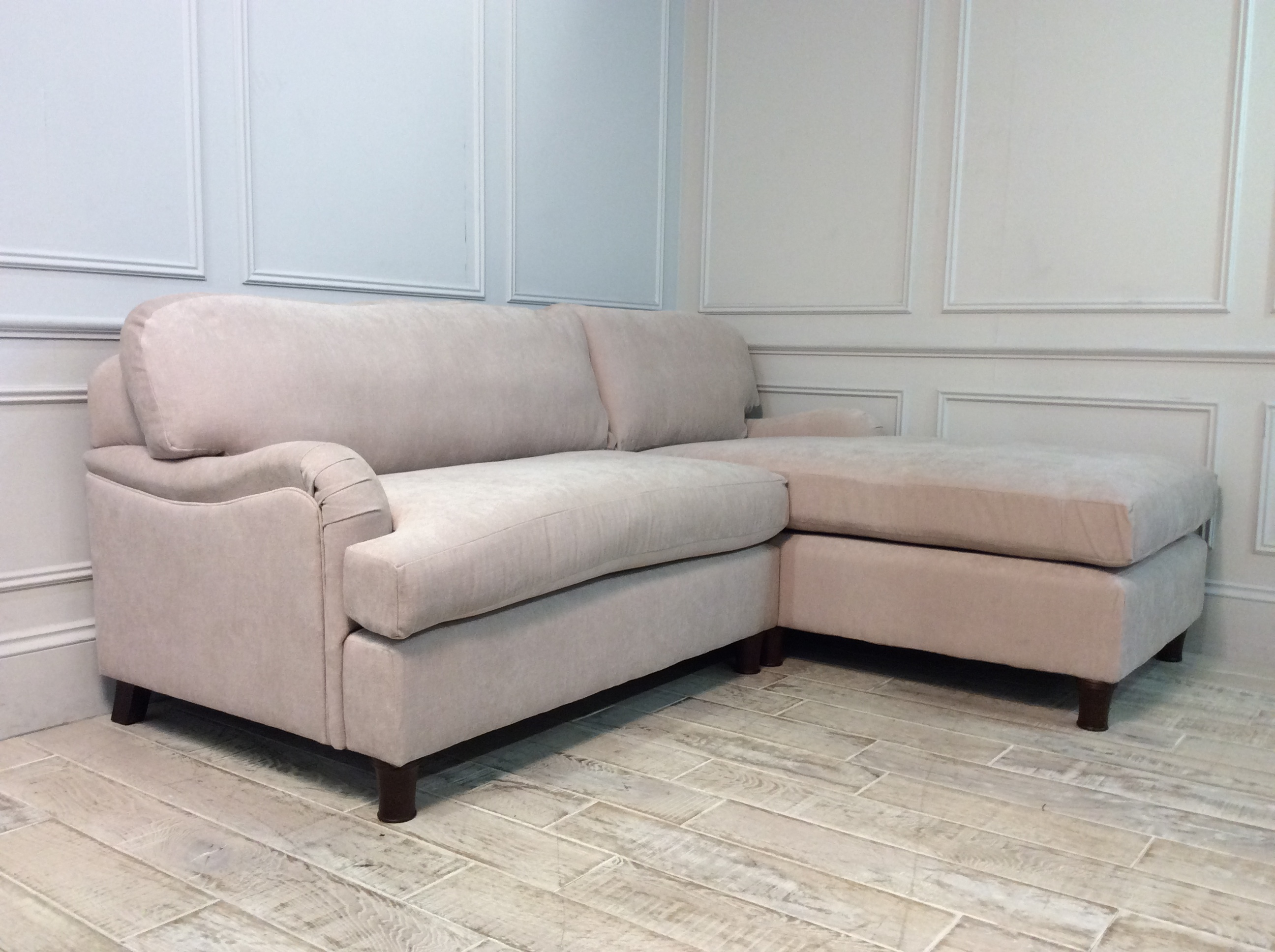 Product photograph showing Helston Loveseat Chaise Sofa In Latte