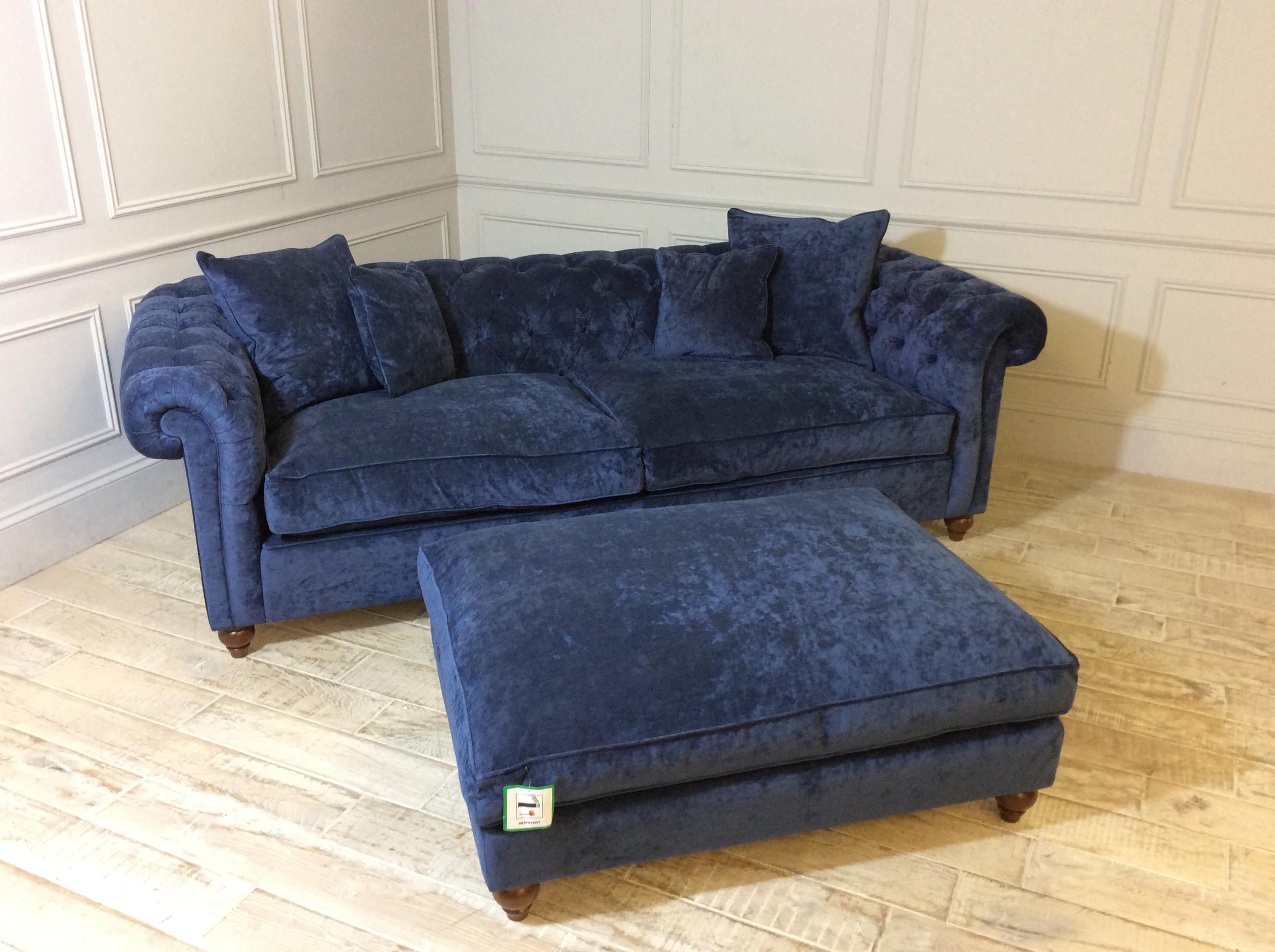 Duresta Connaught Fabric Grand Sofa in Pimlico Velvet Indigo