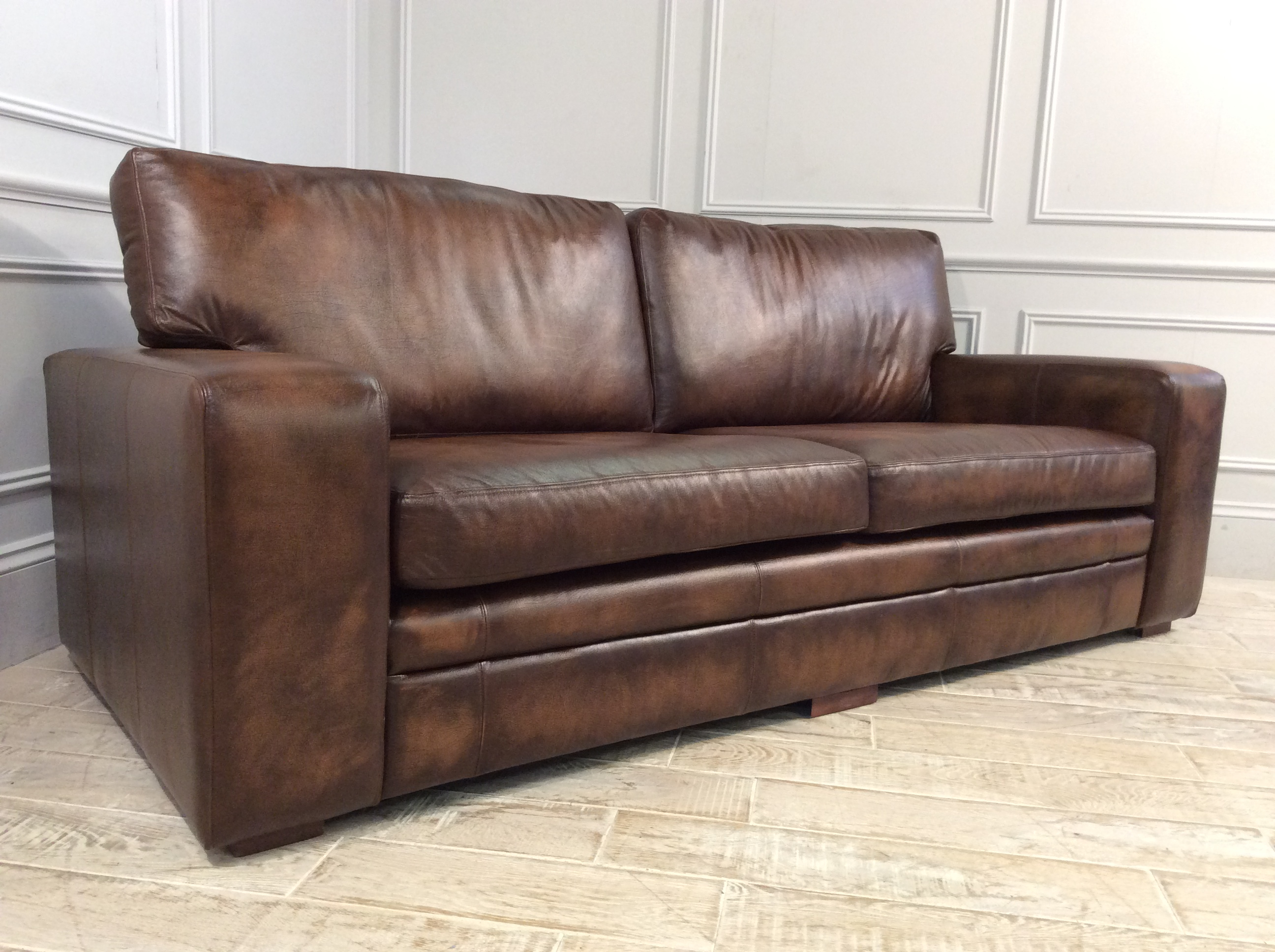 Product photograph showing Sloane 3 5 Seater Leather Sofa In Apache Tan