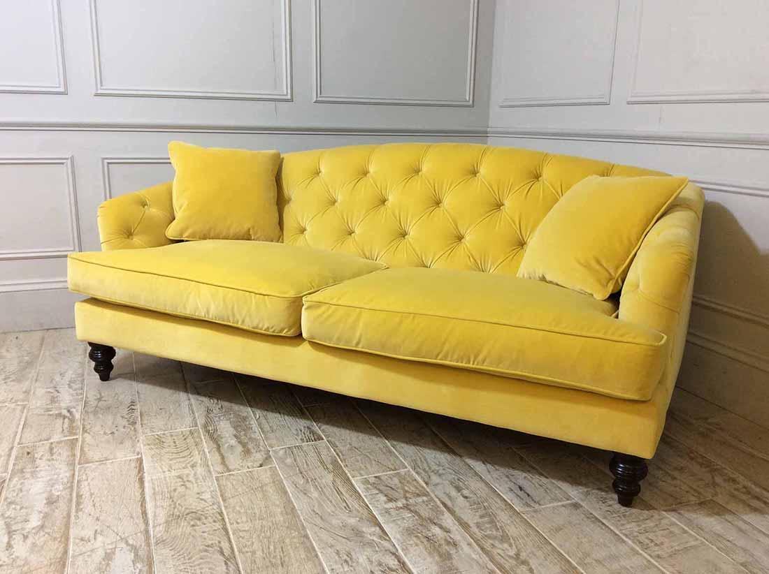 Paisley Midi Fabric Sofa in Varese Velvet Primrose