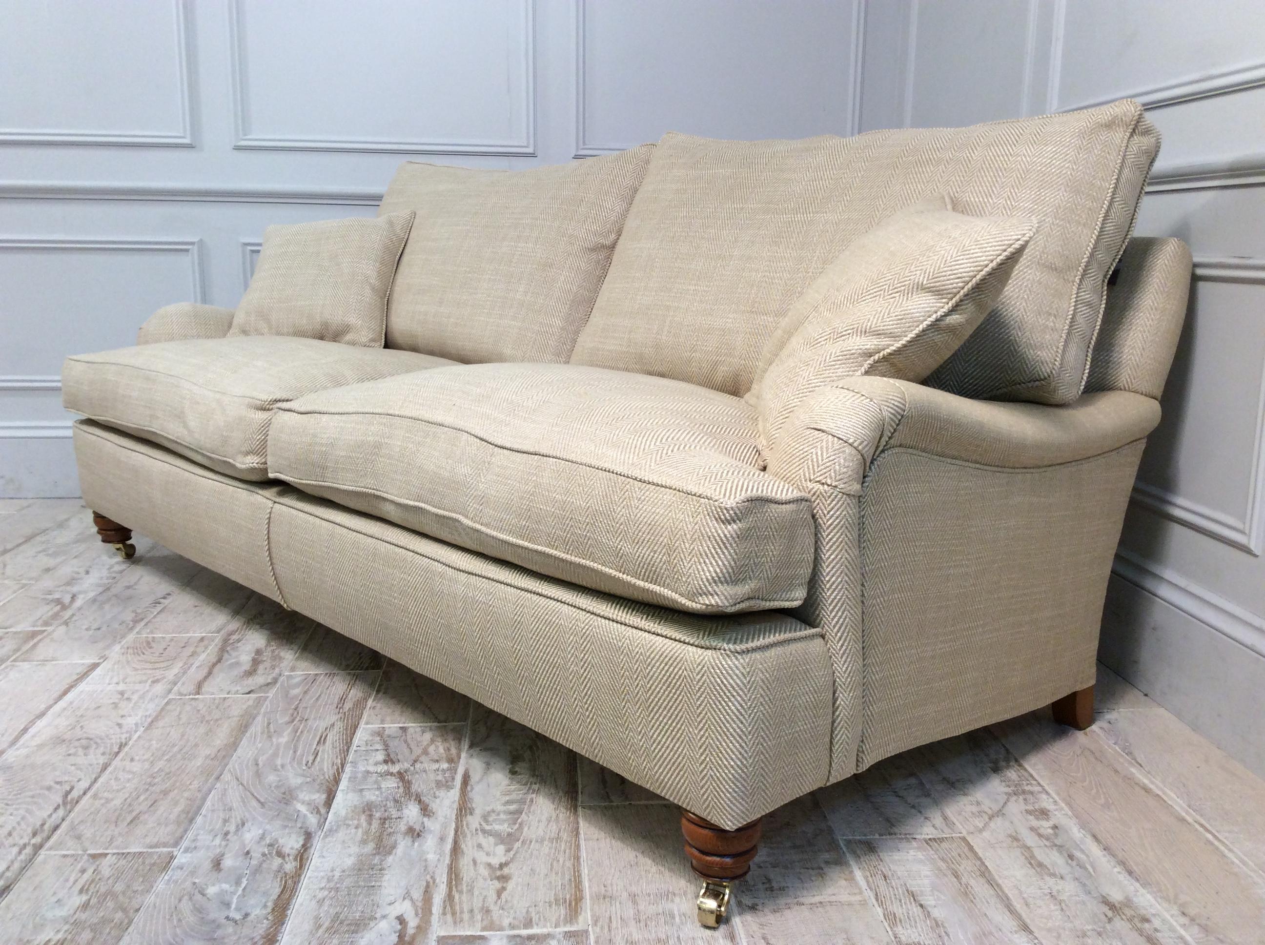 Product photograph showing Duresta Lansdowne 3 Seater Fabric Sofa In Rupert Linen