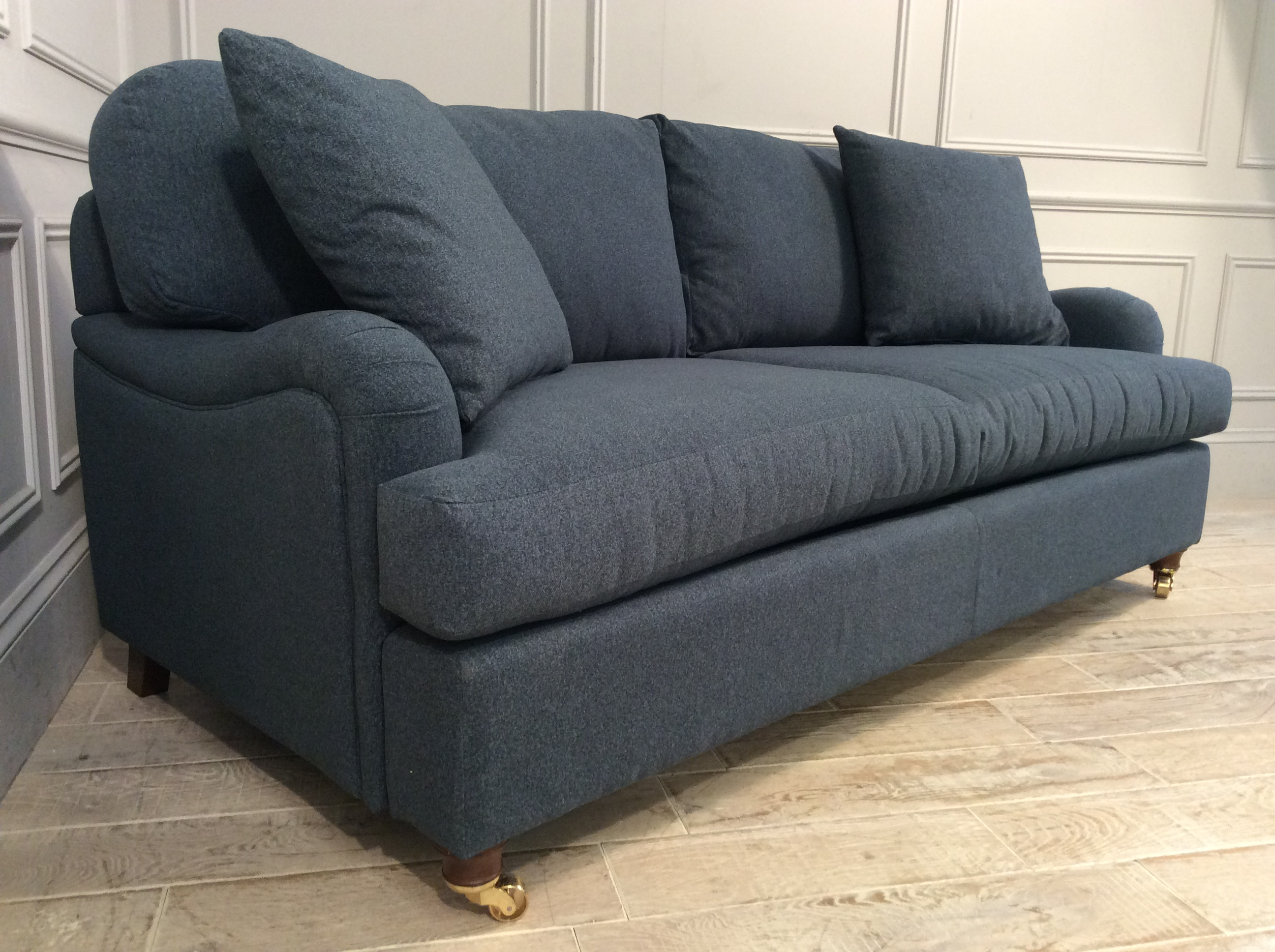 Product photograph showing Helston 3 5 Seater Fabric Sofa Bed In Spruce