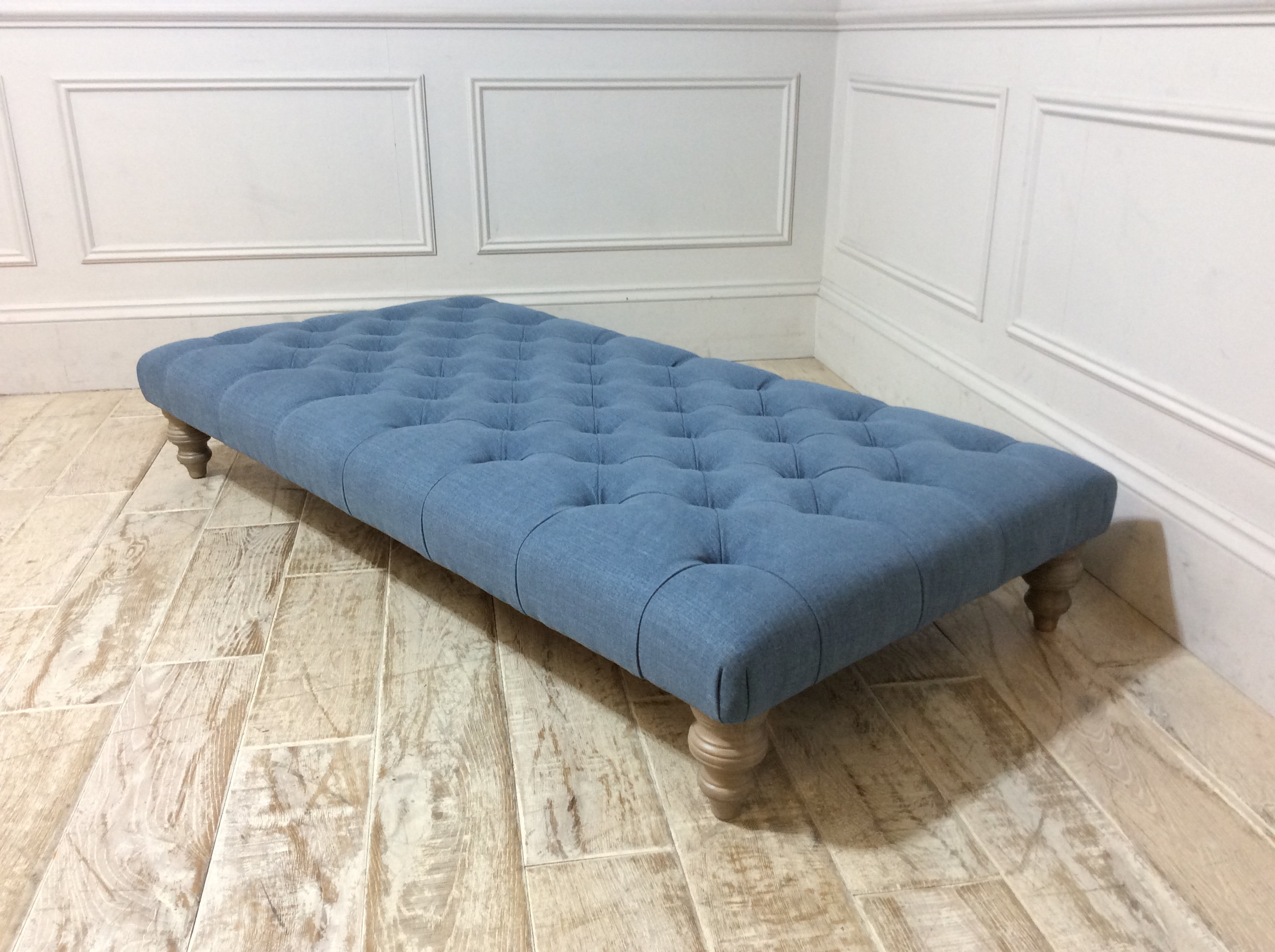 Stirling Footstool in Easy Clean Soft As Cotton Denim