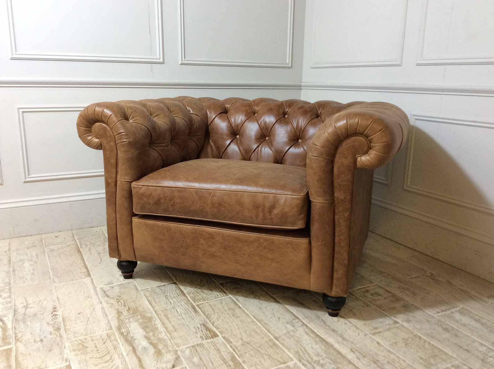 Duresta Connaught Leather Haig Chair in Clyde Oak