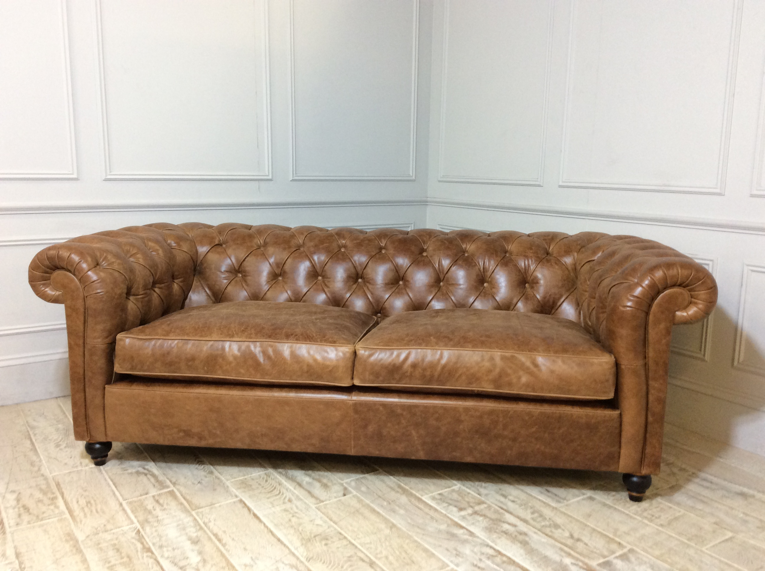 Product photograph showing Duresta Connaught Leather Minor Sofa In Clyde Oak