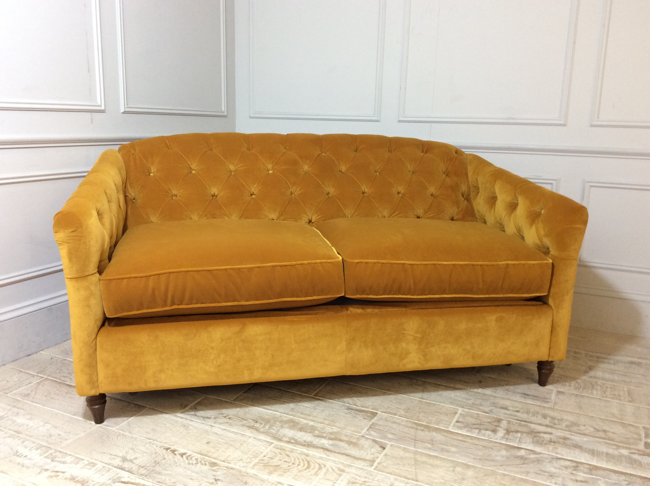 Payton 3 Seater Fabric Sofa Bed in Saffron