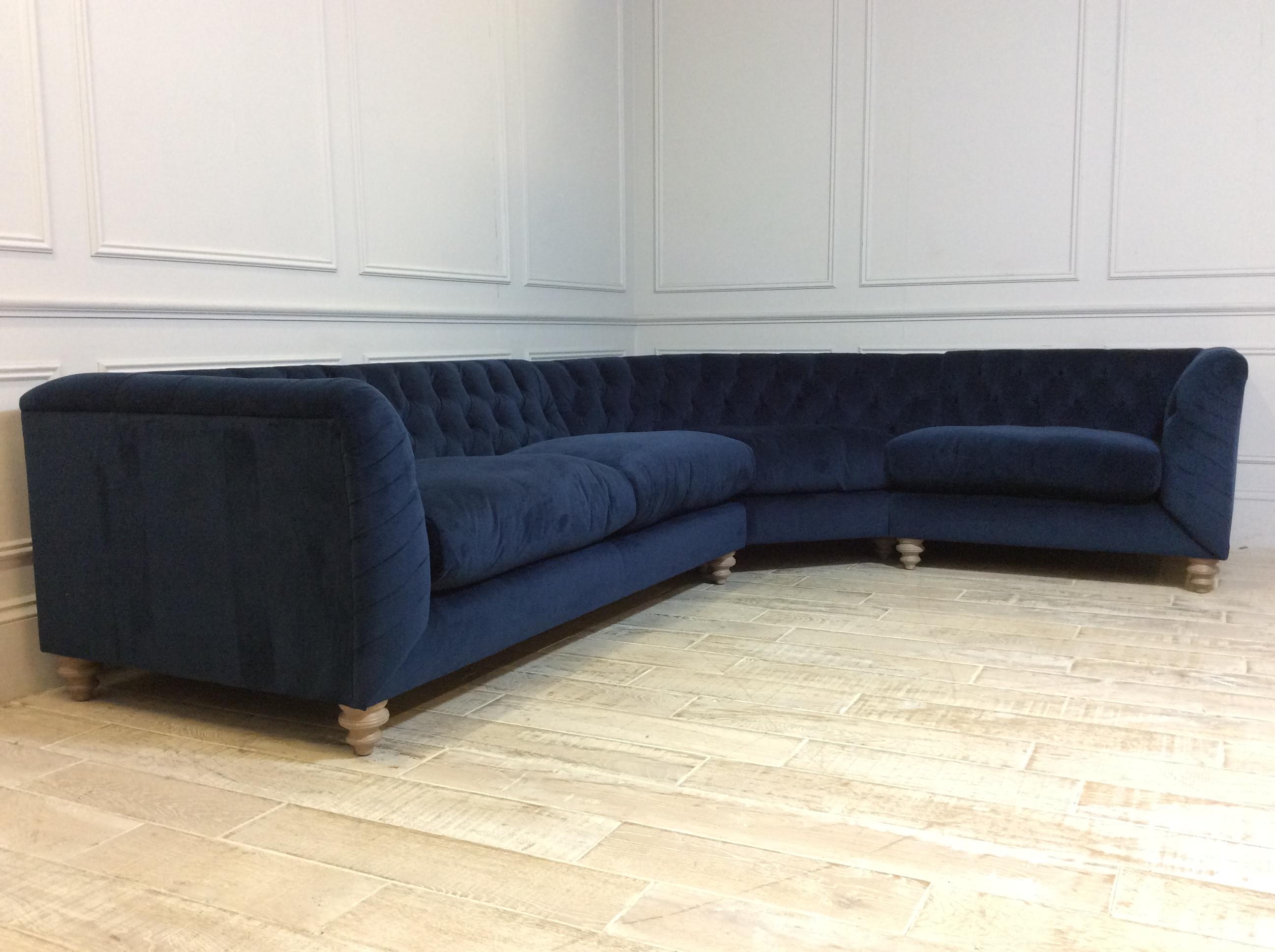 Product photograph showing Dulwich Medium Corner Fabric Sofa In Plush Velvet Indigo Reserved For Mr Simpson