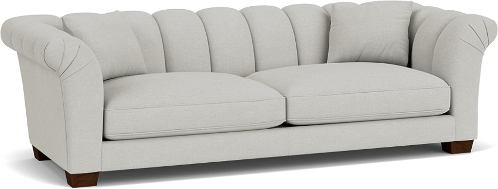 the rockingham grand sofa in easy clean soft as cotton cambridge blue with dark oak feet