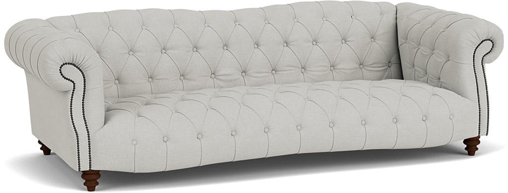 the roslin grand sofa in easy clean soft as cotton cambridge blue with dark oak feet