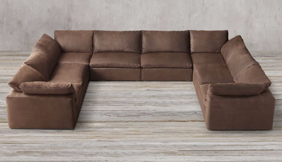 Product photograph showing Feather Extra Deep Leather U Shape Sofa