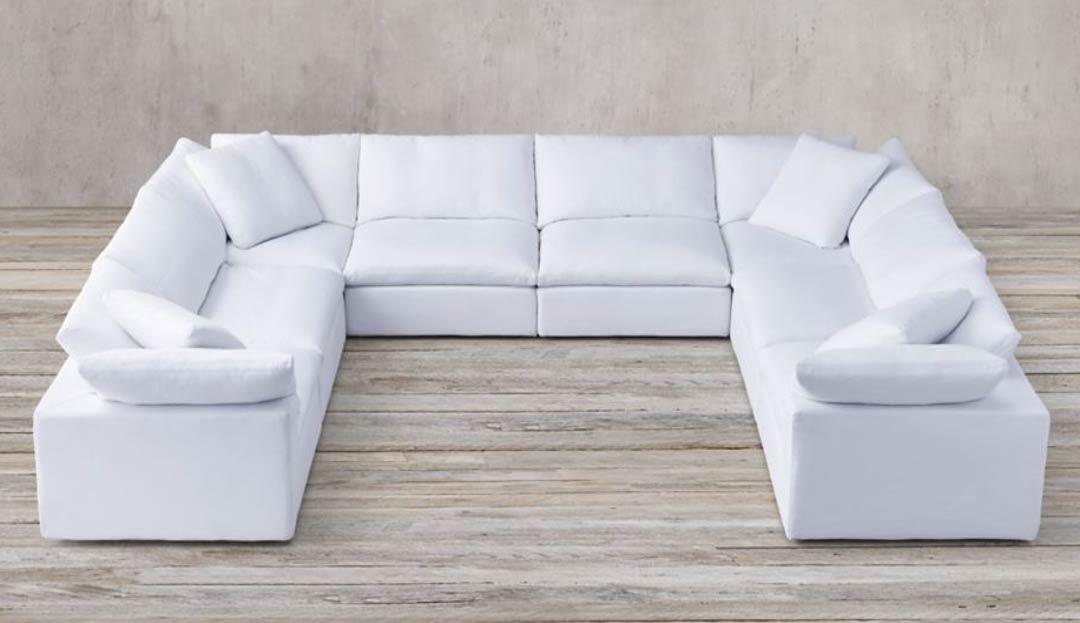 Feather U Shaped Sofa in White Linen