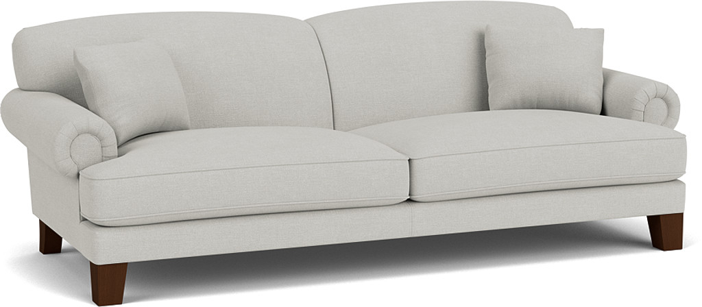 the thatcham grand sofa in easy clean soft as cotton cambridge blue with dark oak feet