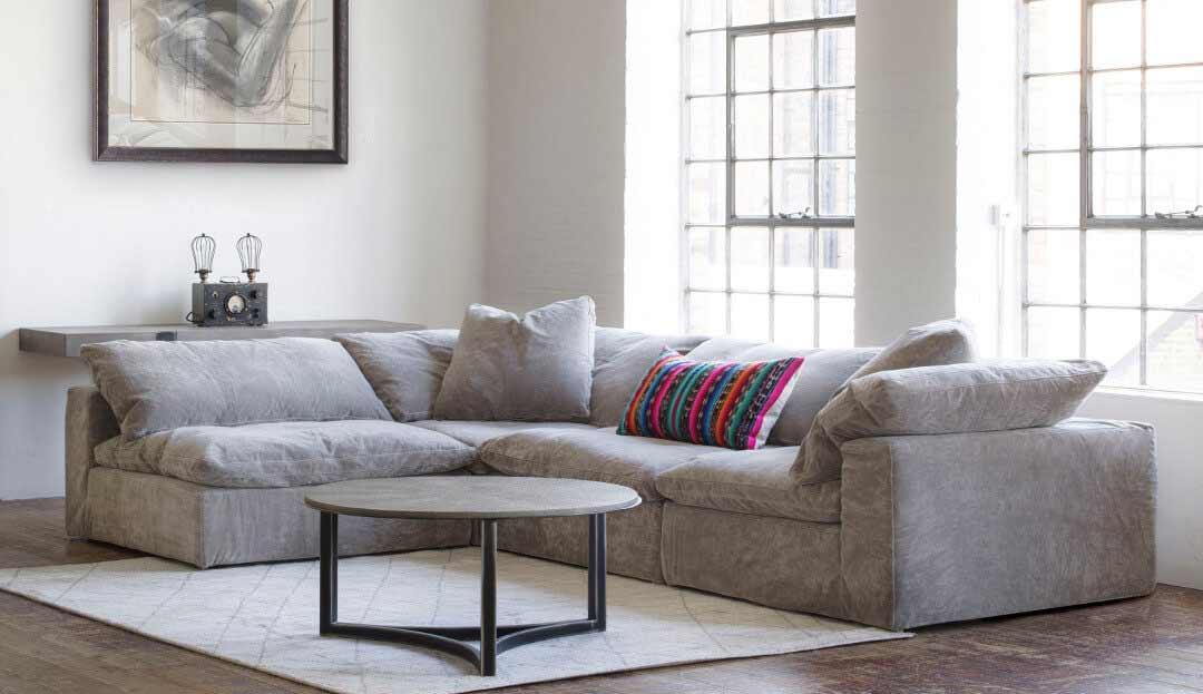 Feather Extra Deep Fabric Corner Sofa in Grey Velvet