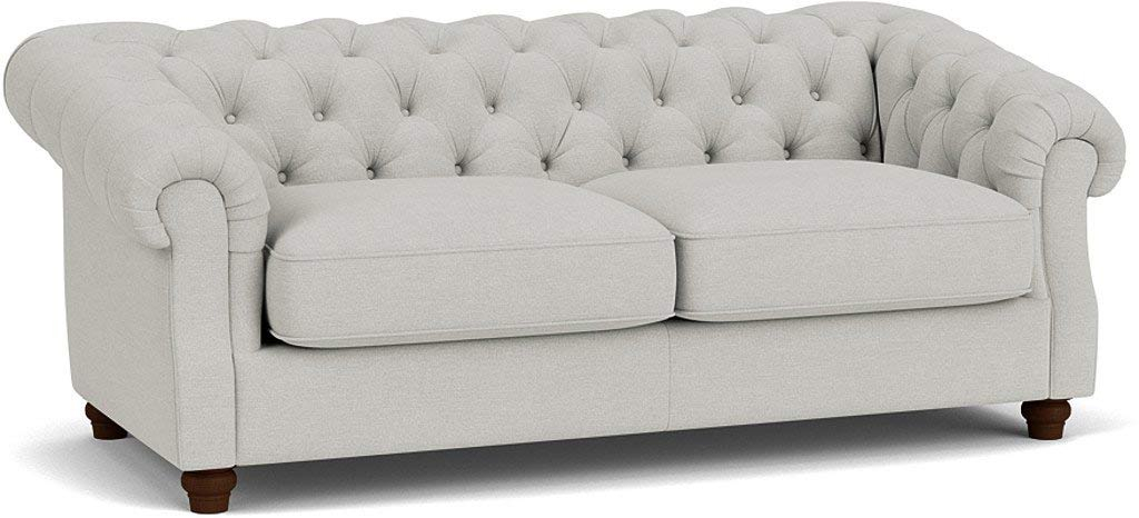 the wantage 3.5 seater sofa in easy clean soft as cotton cambridge blue with dark oak feet
