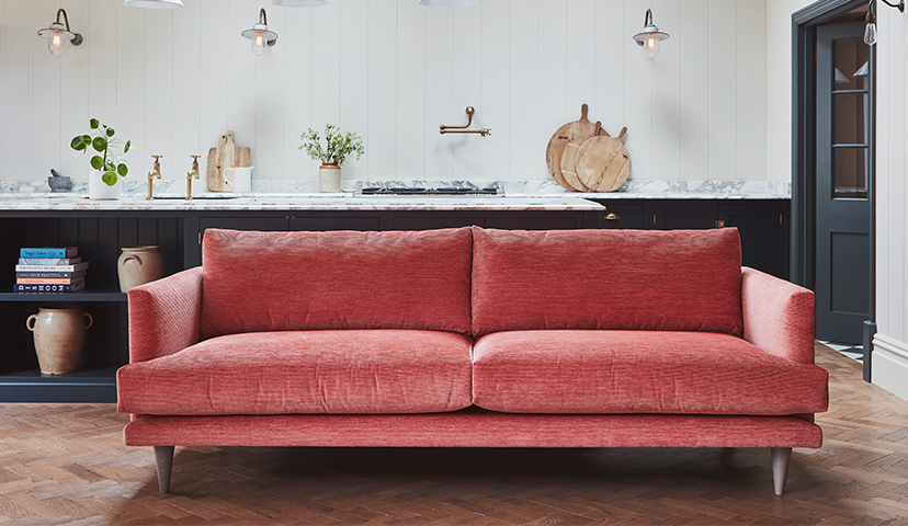 The middleton grand sofa in easy clean corded velvet peony