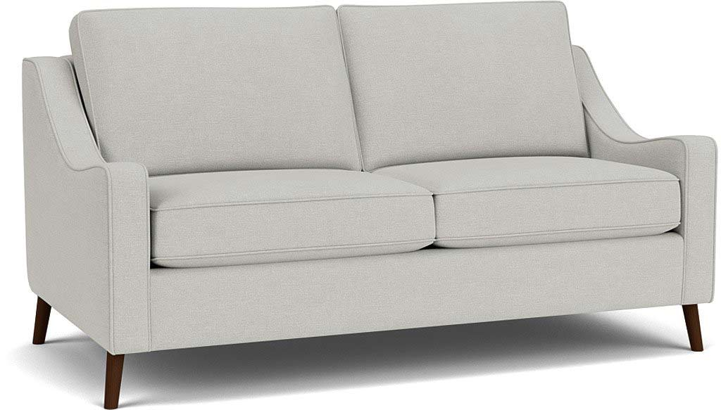 the weymouth 3.5 seater sofa in easy clean soft as cotton cambridge blue with dark oak feet